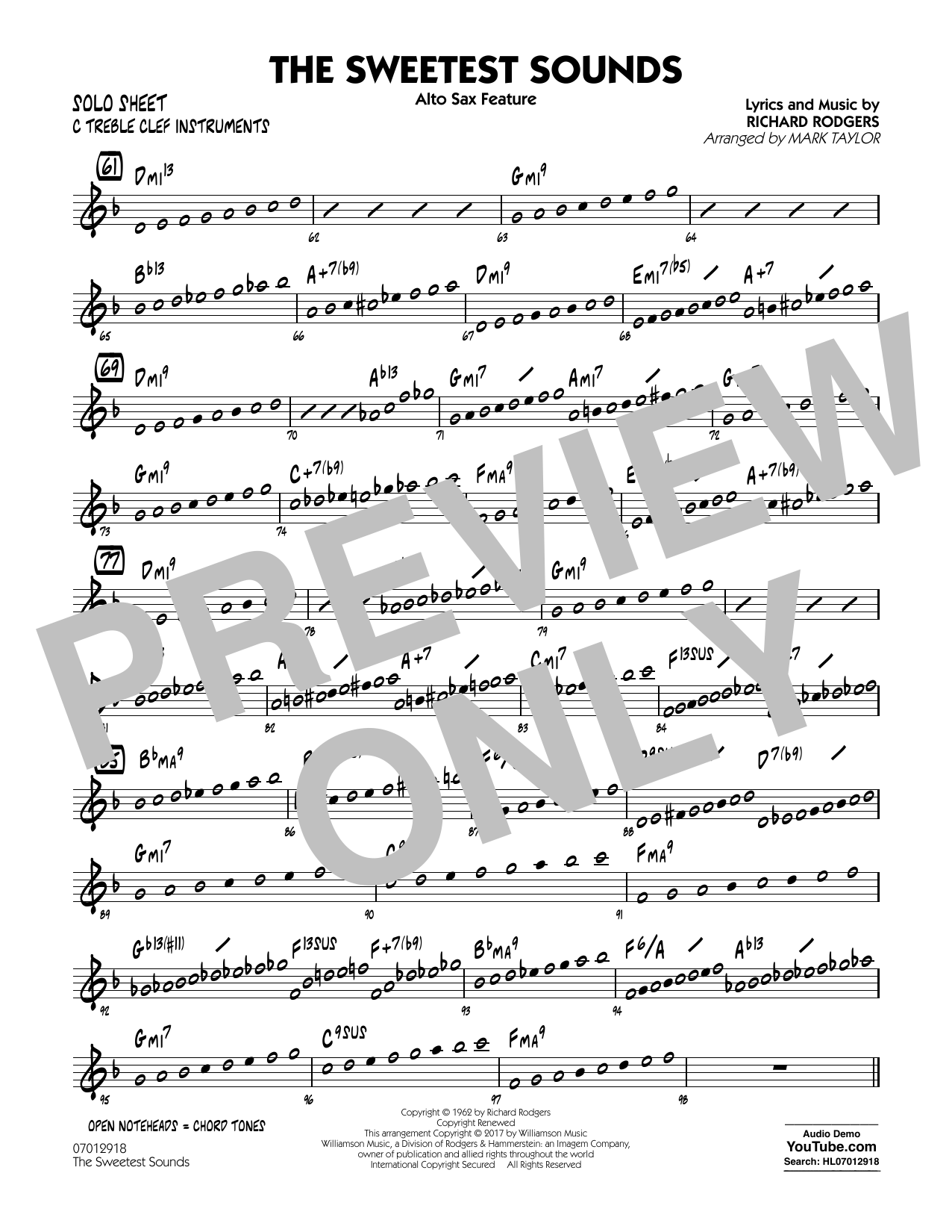 The Sweetest Sounds (Alto Sax Feature) - C Solo Sheet Sheet Music
