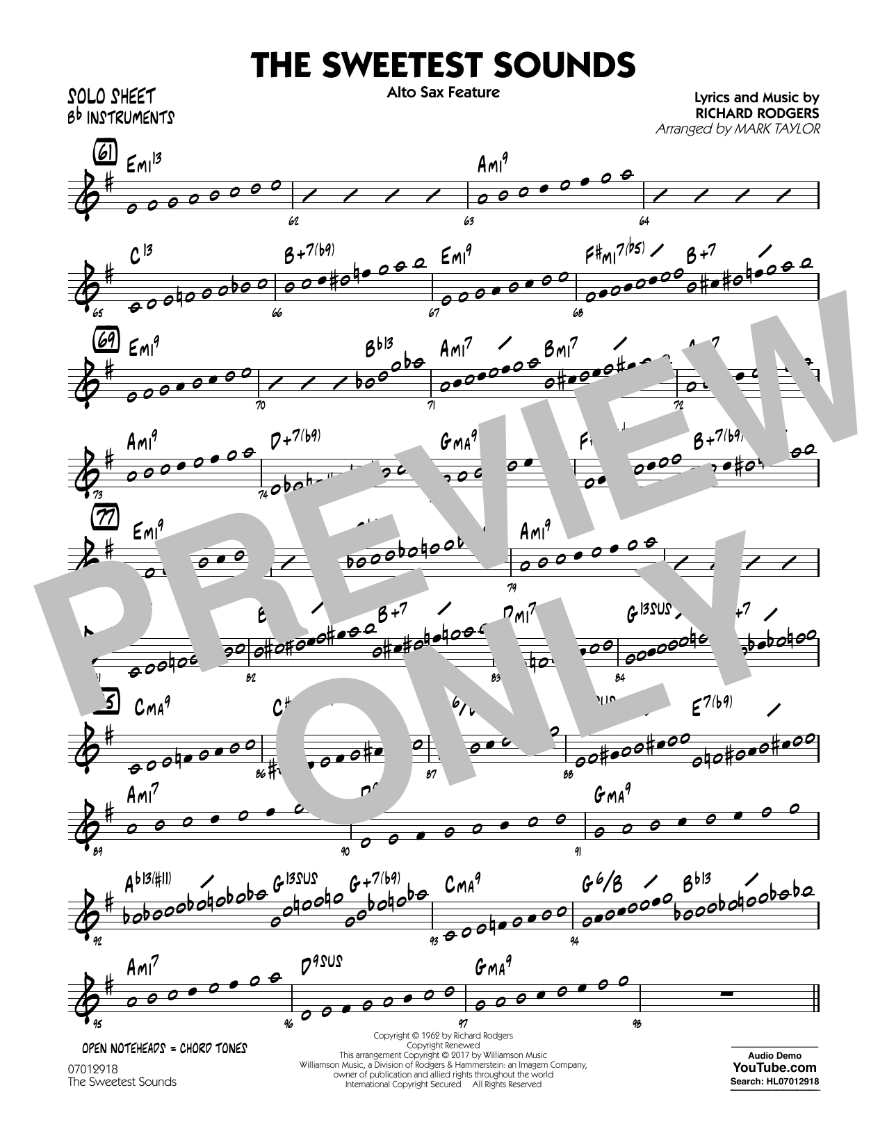 The Sweetest Sounds (Alto Sax Feature) - Bb Solo Sheet Sheet Music