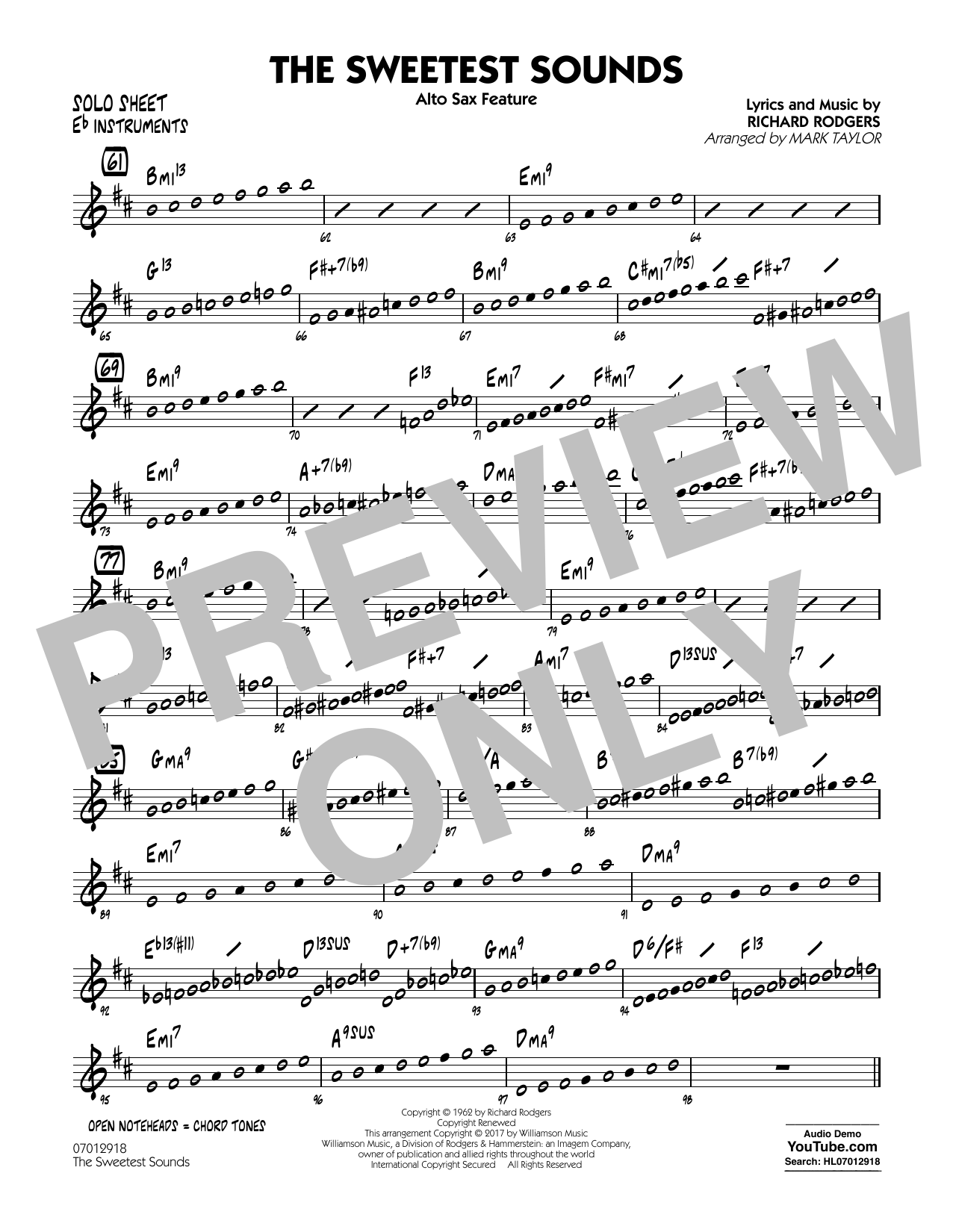 The Sweetest Sounds (Alto Sax Feature) - Eb Solo Sheet Sheet Music
