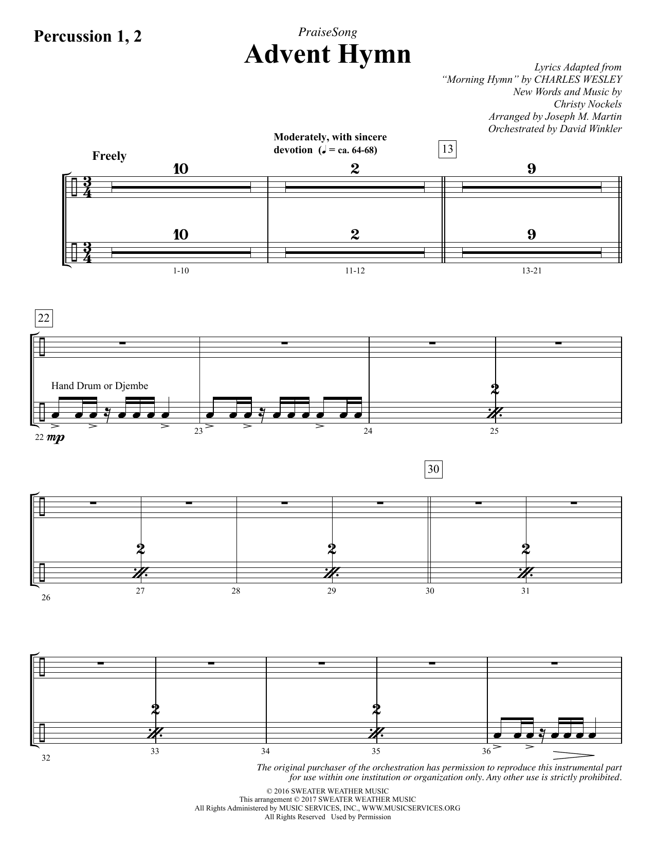 Advent Hymn - Percussion 1 & 2 Partituras Digitales