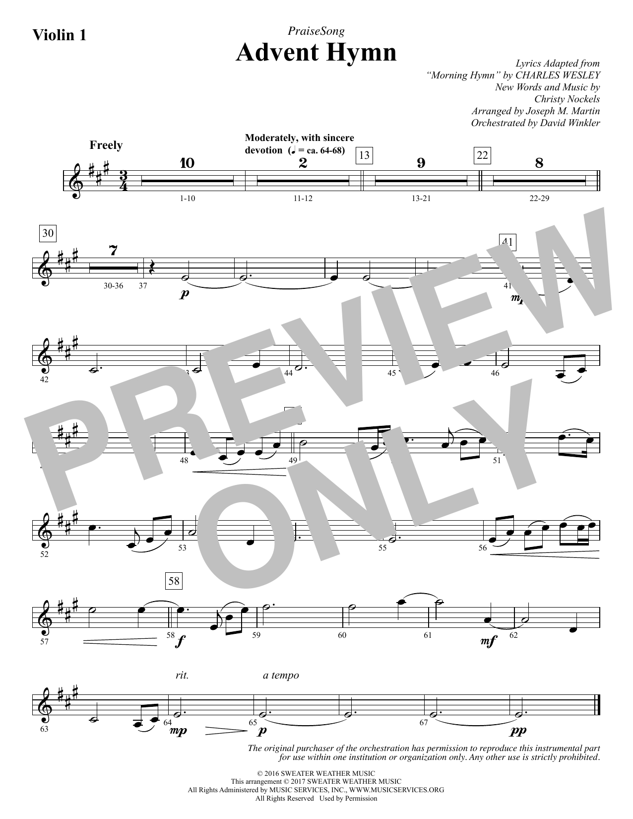 Advent Hymn - Violin 1 Sheet Music