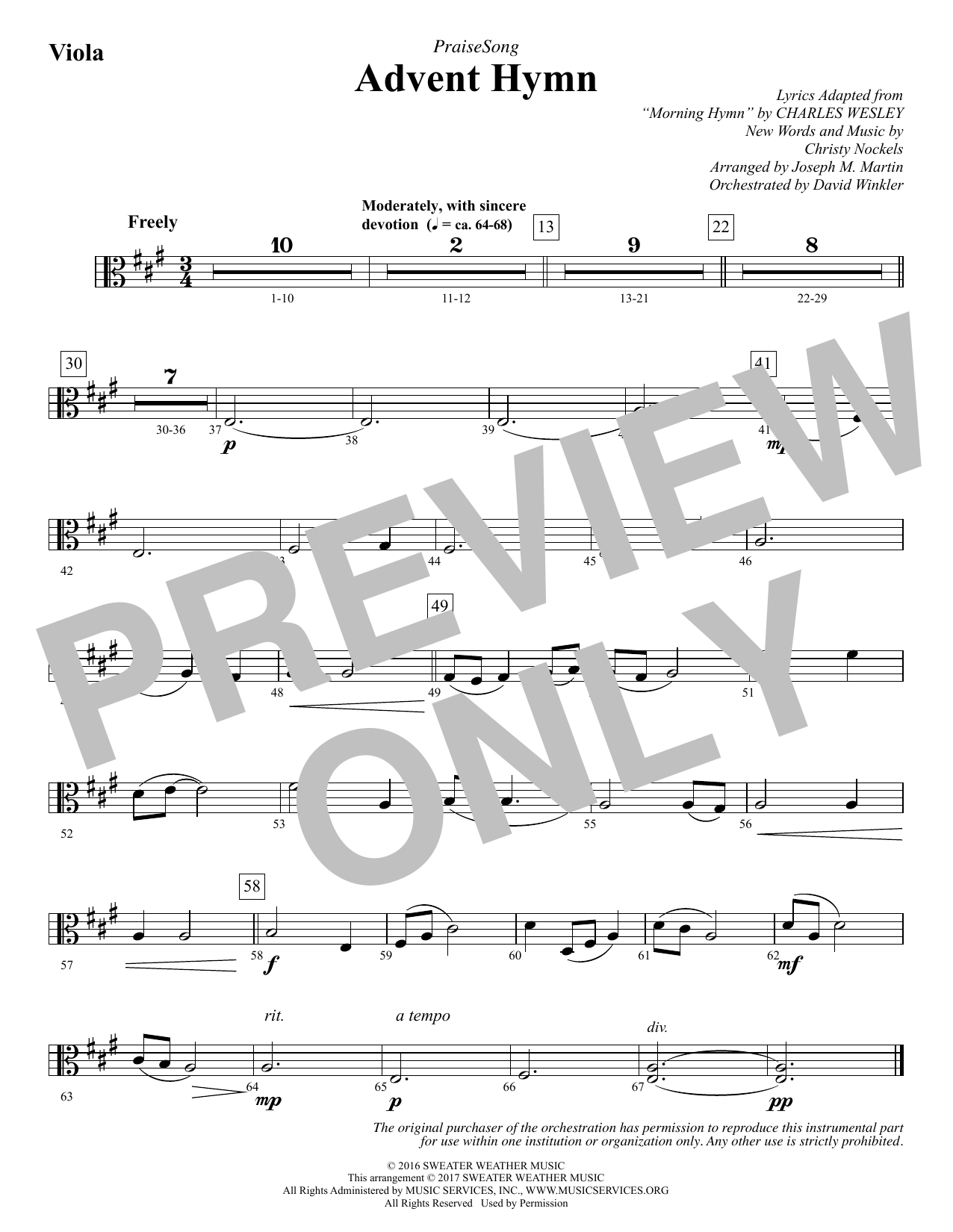 Advent Hymn - Viola Sheet Music