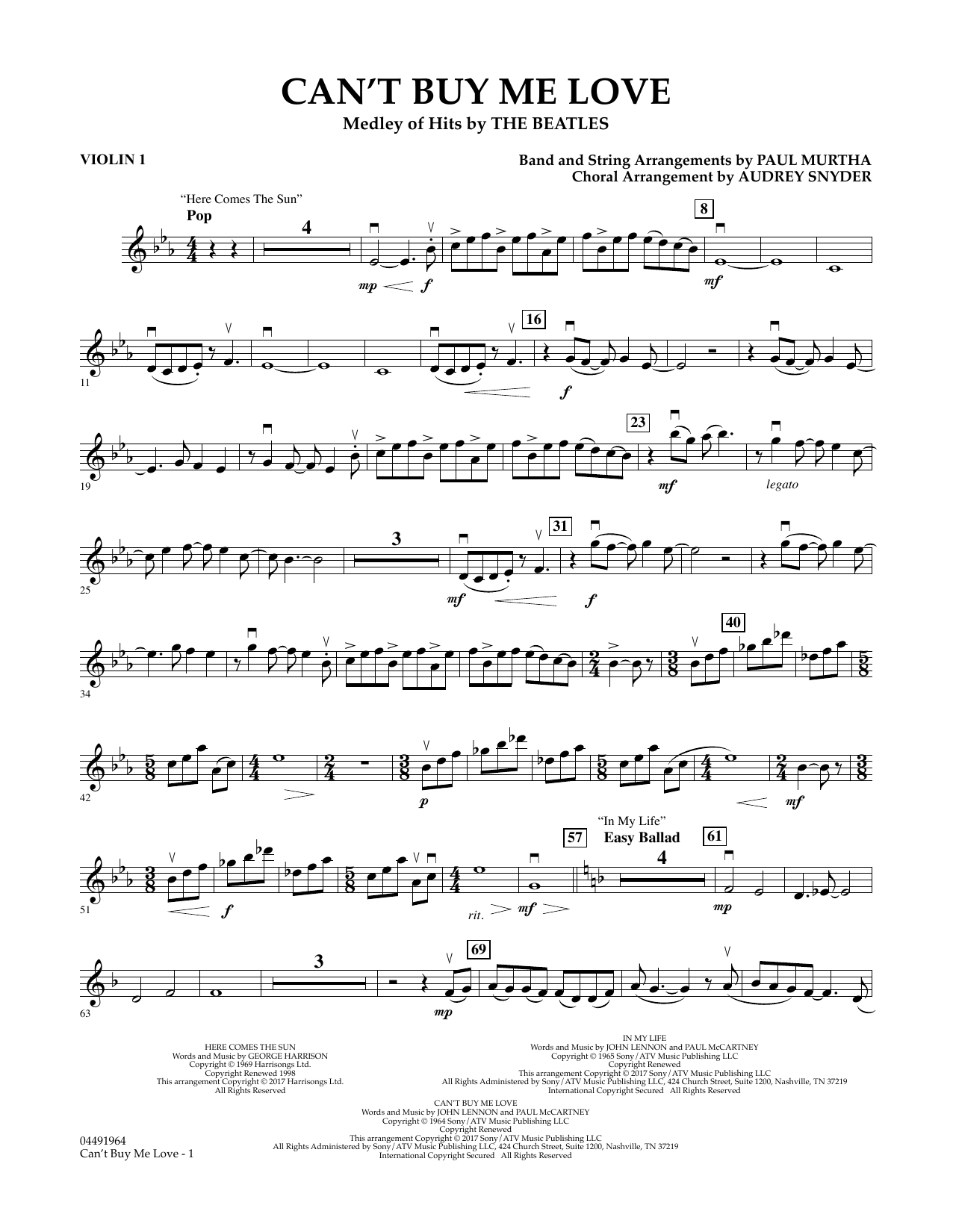Can't Buy Me Love - Violin 1 Sheet Music