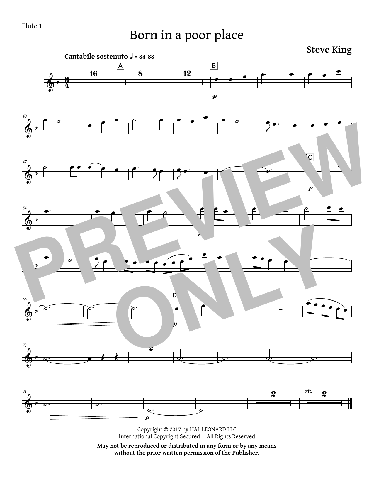 Born in a Poor Place - Flute 1 Sheet Music