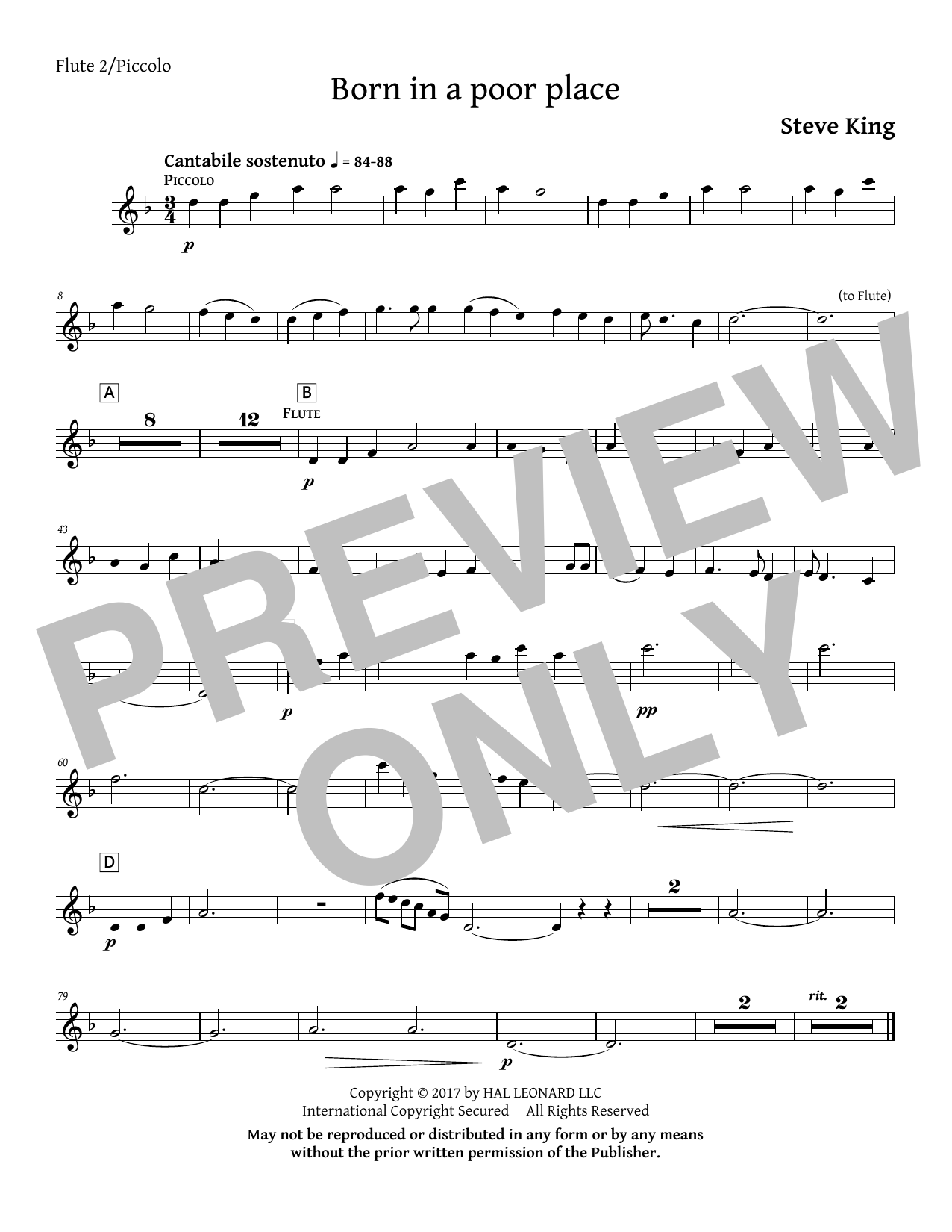 Born in a Poor Place - Flute 2 Sheet Music