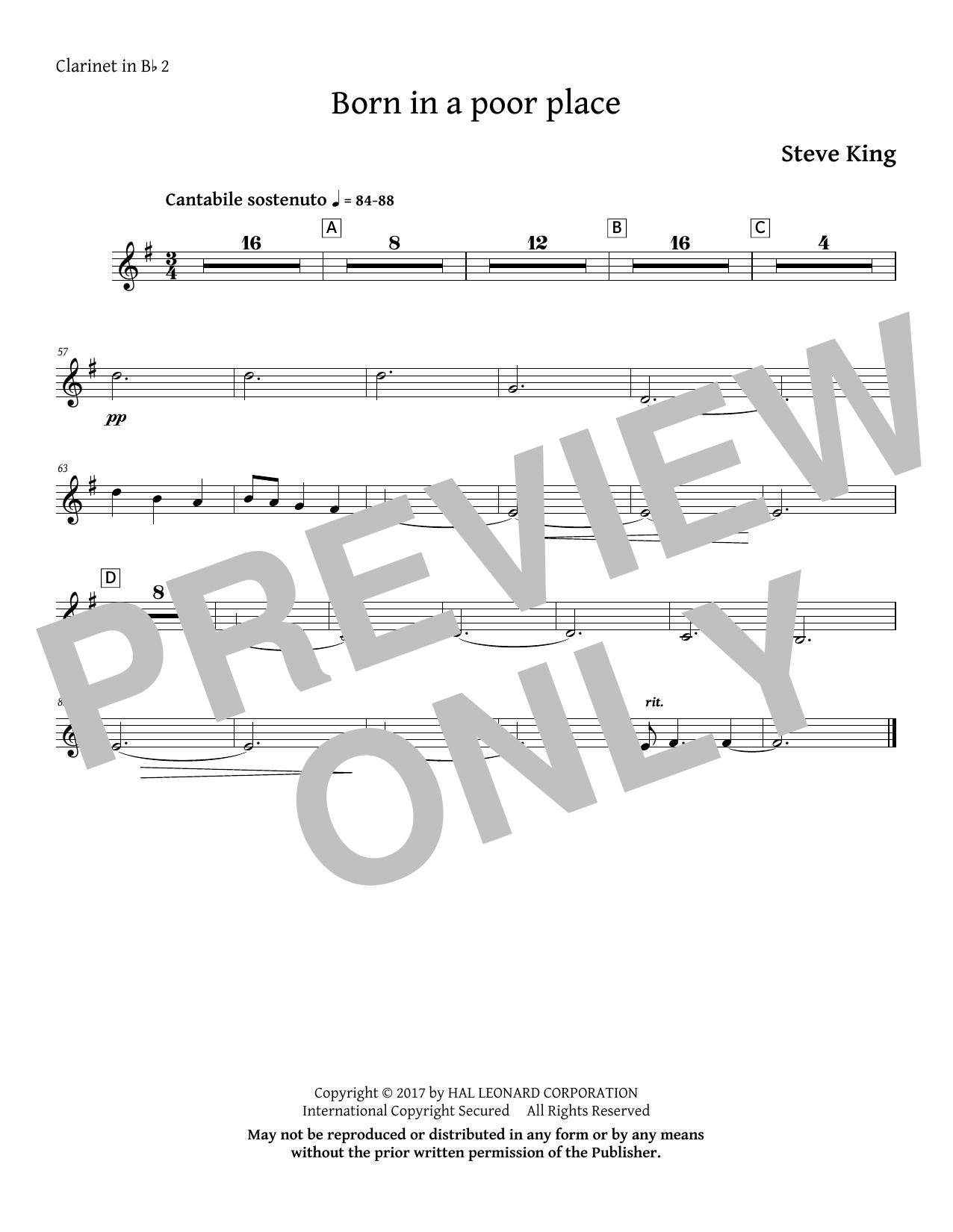 Born in a Poor Place - Bb Clarinet 2 (Choir Instrumental Pak)