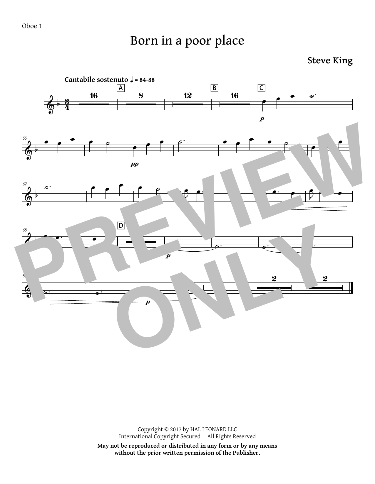Born in a Poor Place - Oboe 1 Sheet Music