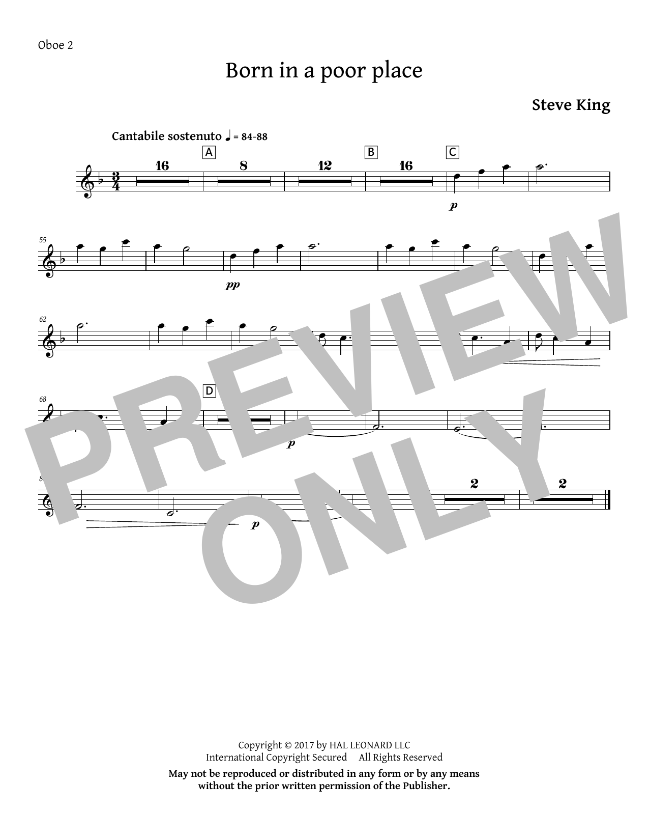 Born in a Poor Place - Oboe 2 Sheet Music