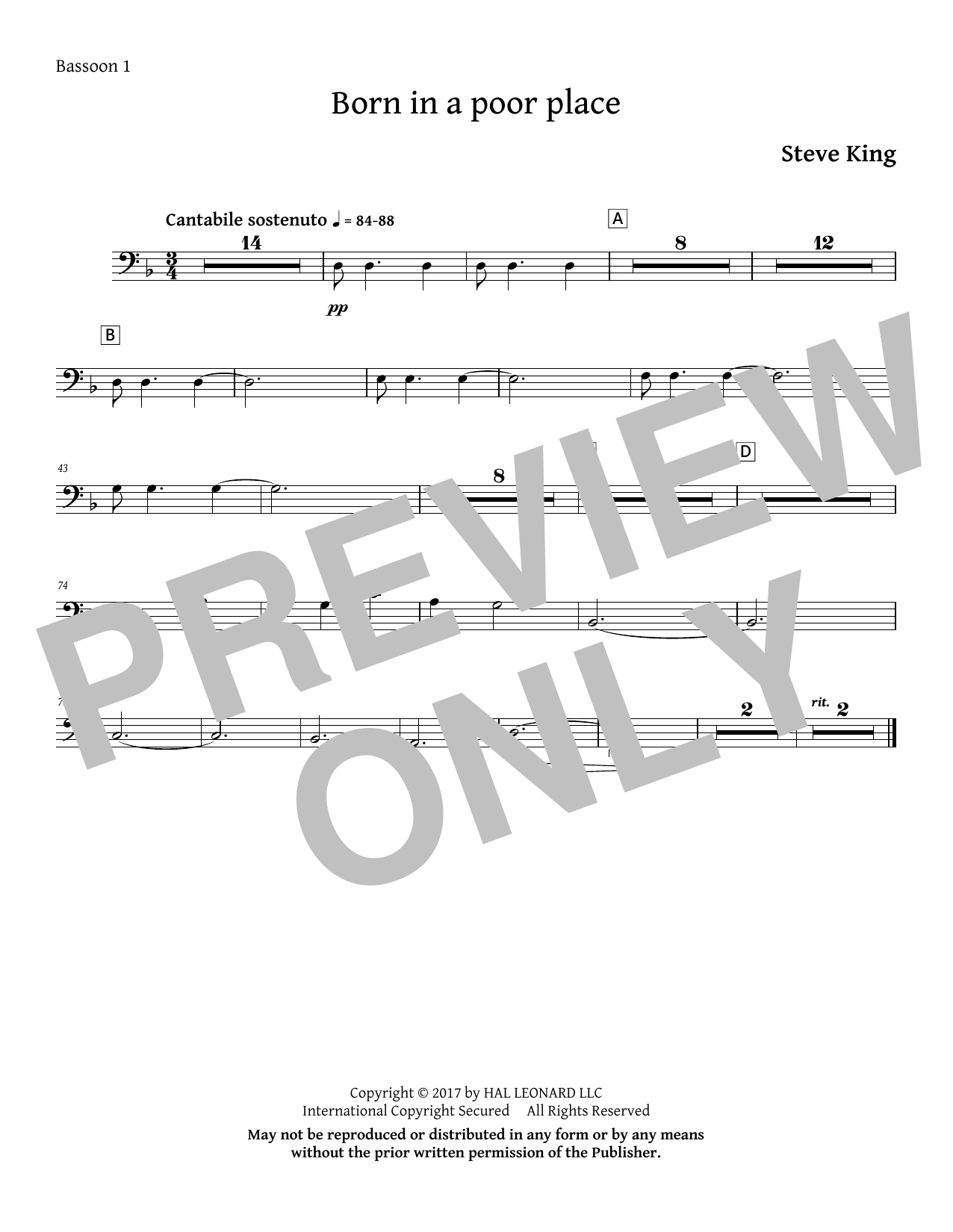 Born in a Poor Place - Bassoon 1 Sheet Music