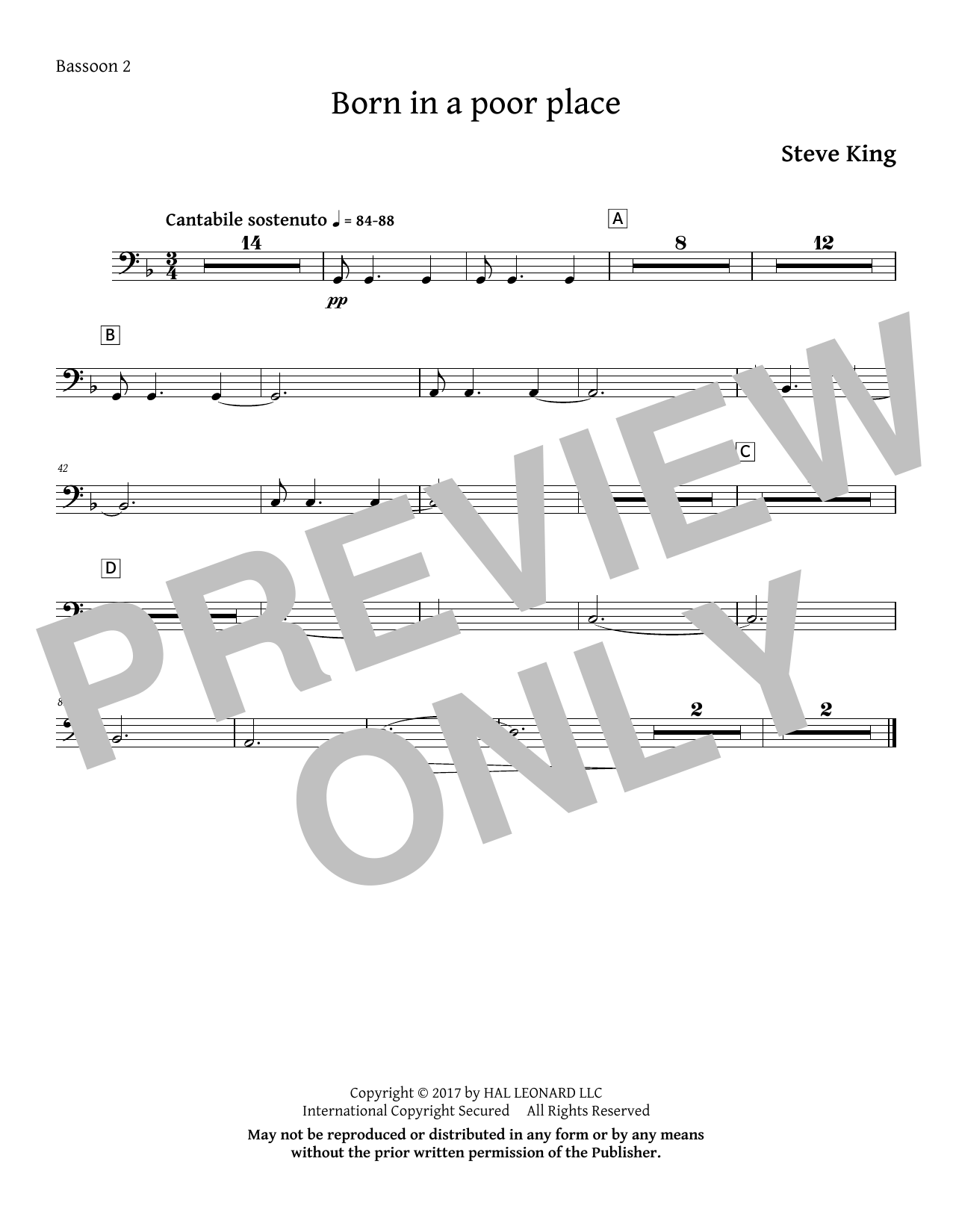 Born in a Poor Place - Bassoon 2 Sheet Music