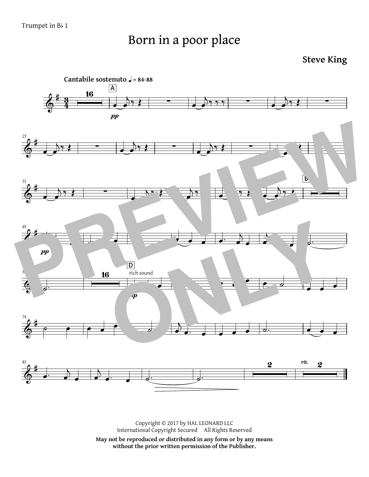 Born in a Poor Place - Bb Trumpet 1 Sheet Music