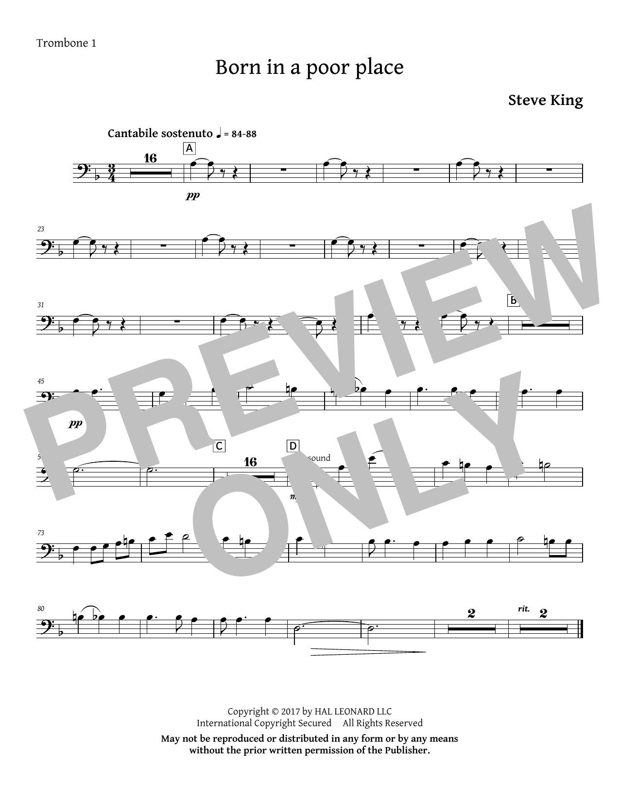 Born in a Poor Place - Trombone 1 Partition Digitale