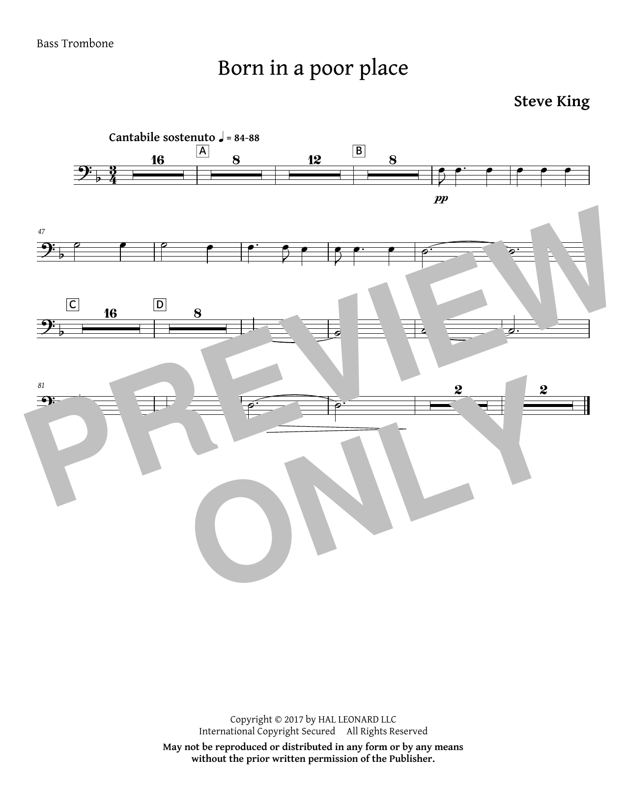 Born in a Poor Place - Bass Trombone Sheet Music