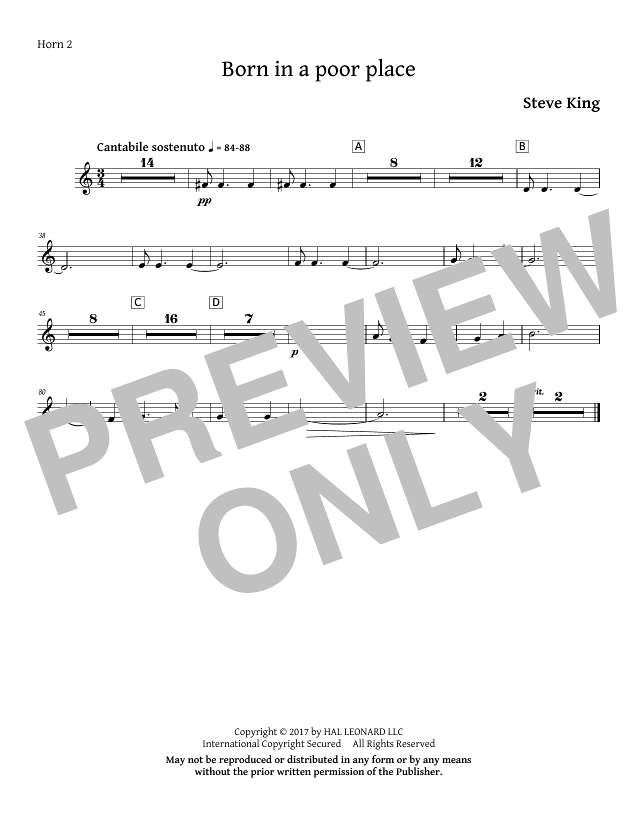 Born in a Poor Place - F Horn 2 Sheet Music