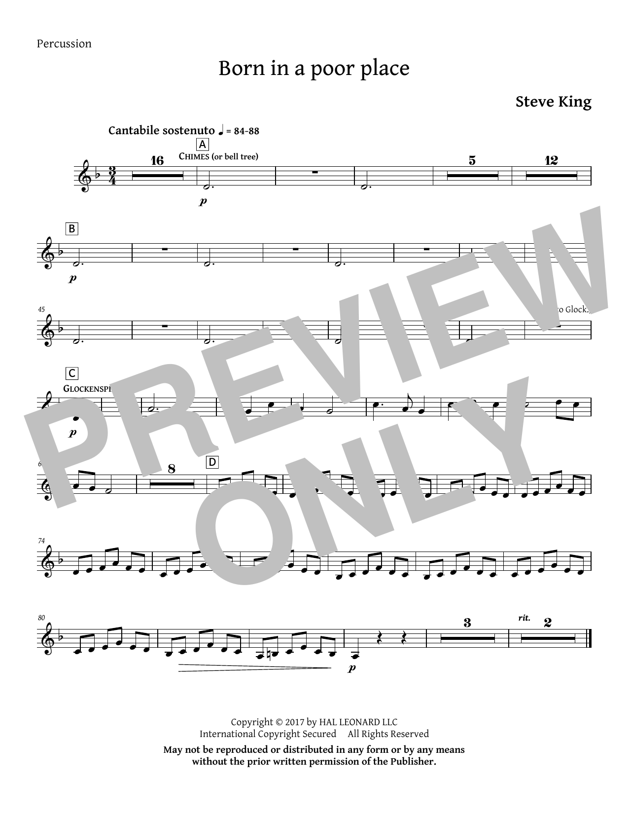 Born in a Poor Place - Percussion Sheet Music