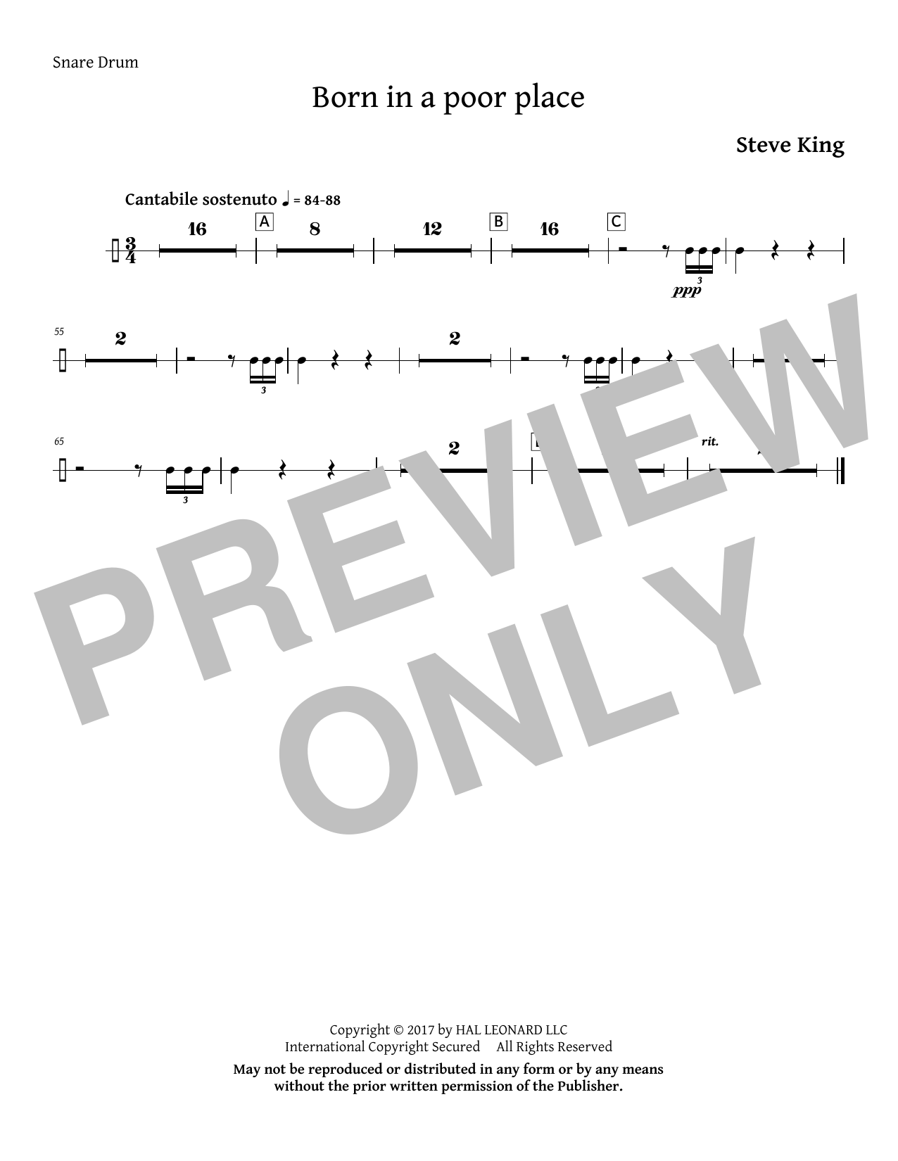 Born in a Poor Place - Snare Drum Sheet Music