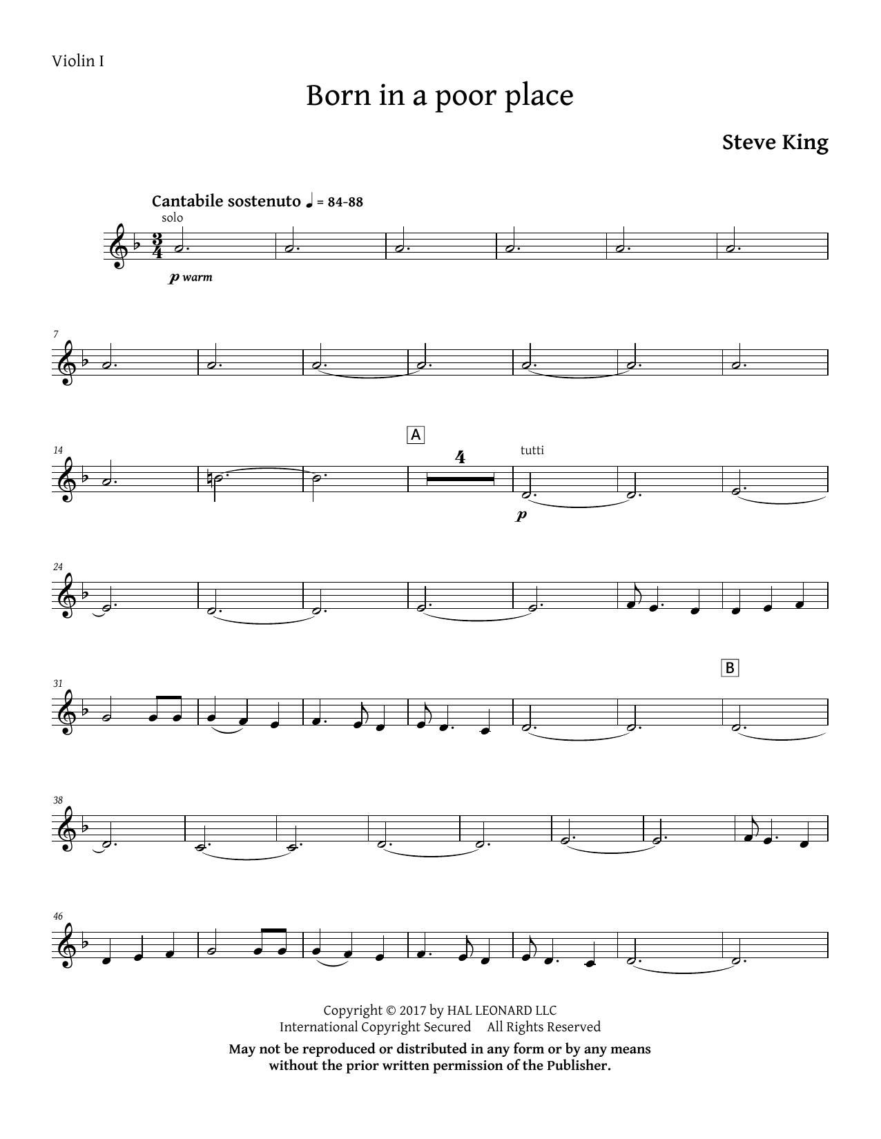 Born in a Poor Place - Violin 1 (Choir Instrumental Pak)