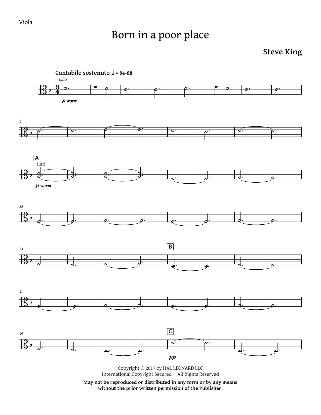 Born in a Poor Place - Viola (Choir Instrumental Pak)