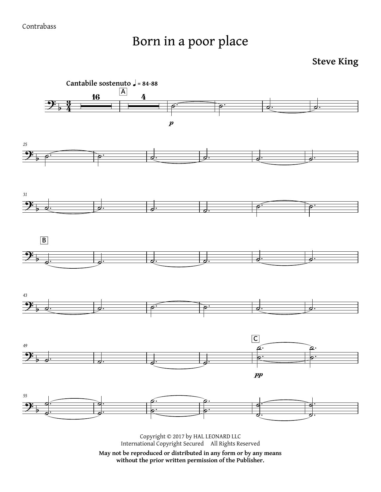Born in a Poor Place - Double Bass Digitale Noten