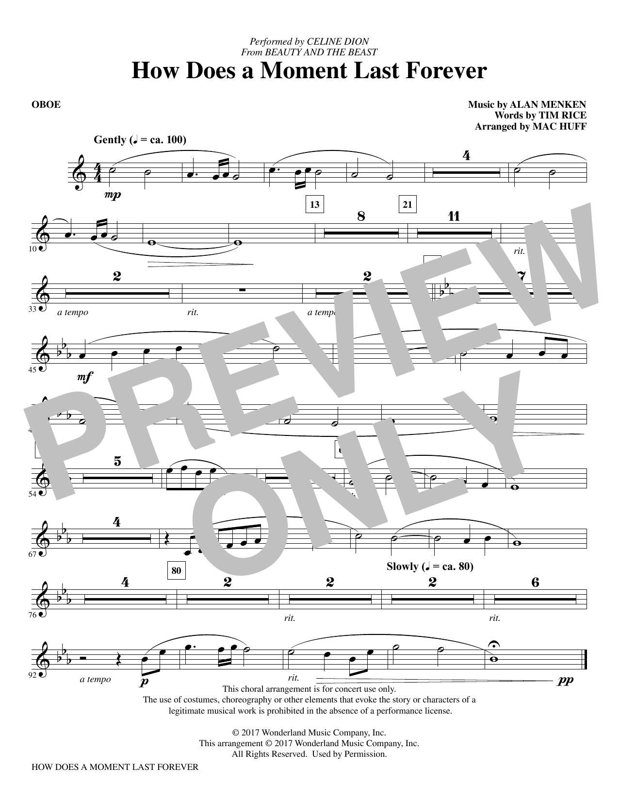 How Does a Moment Last Forever - Oboe Sheet Music
