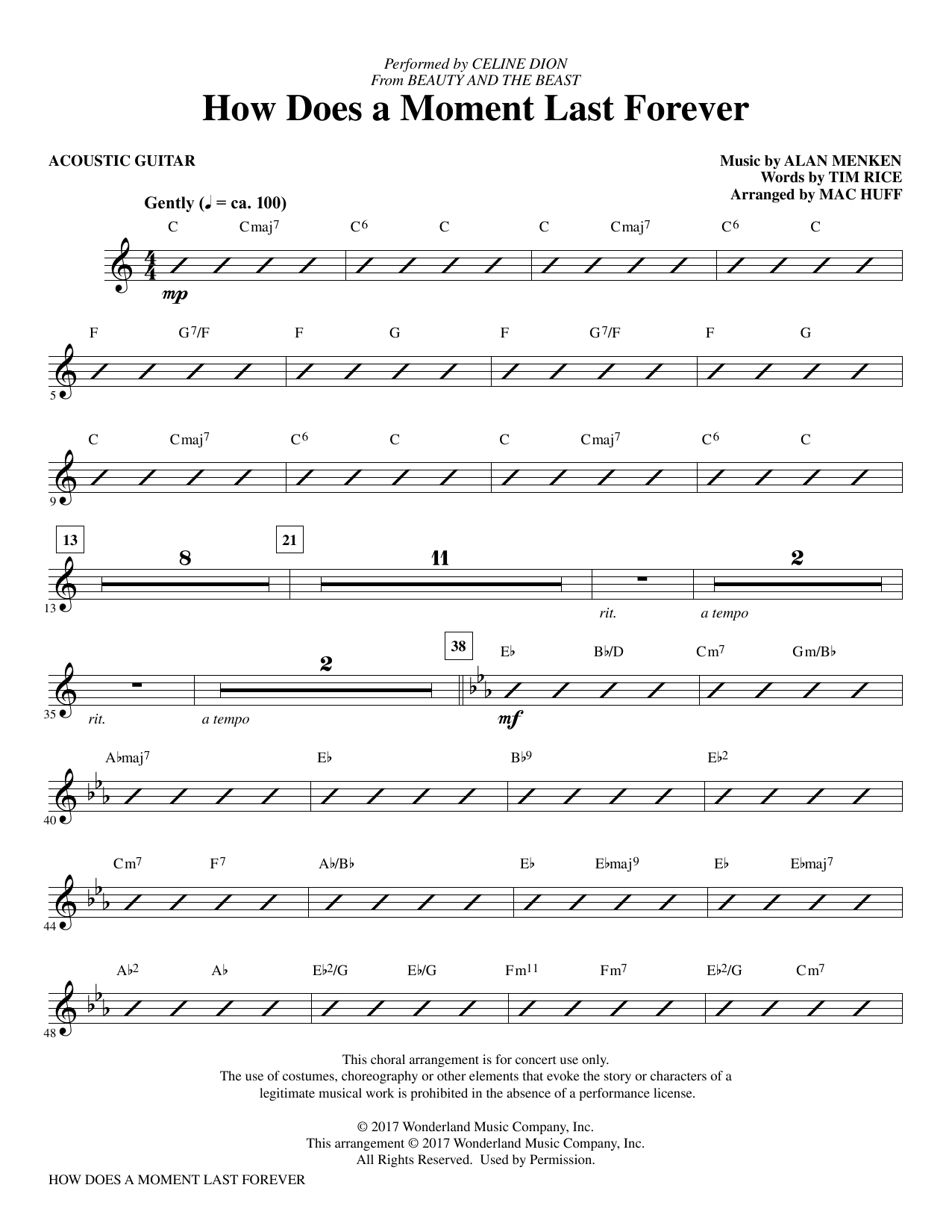 How Does a Moment Last Forever - Guitar Sheet Music