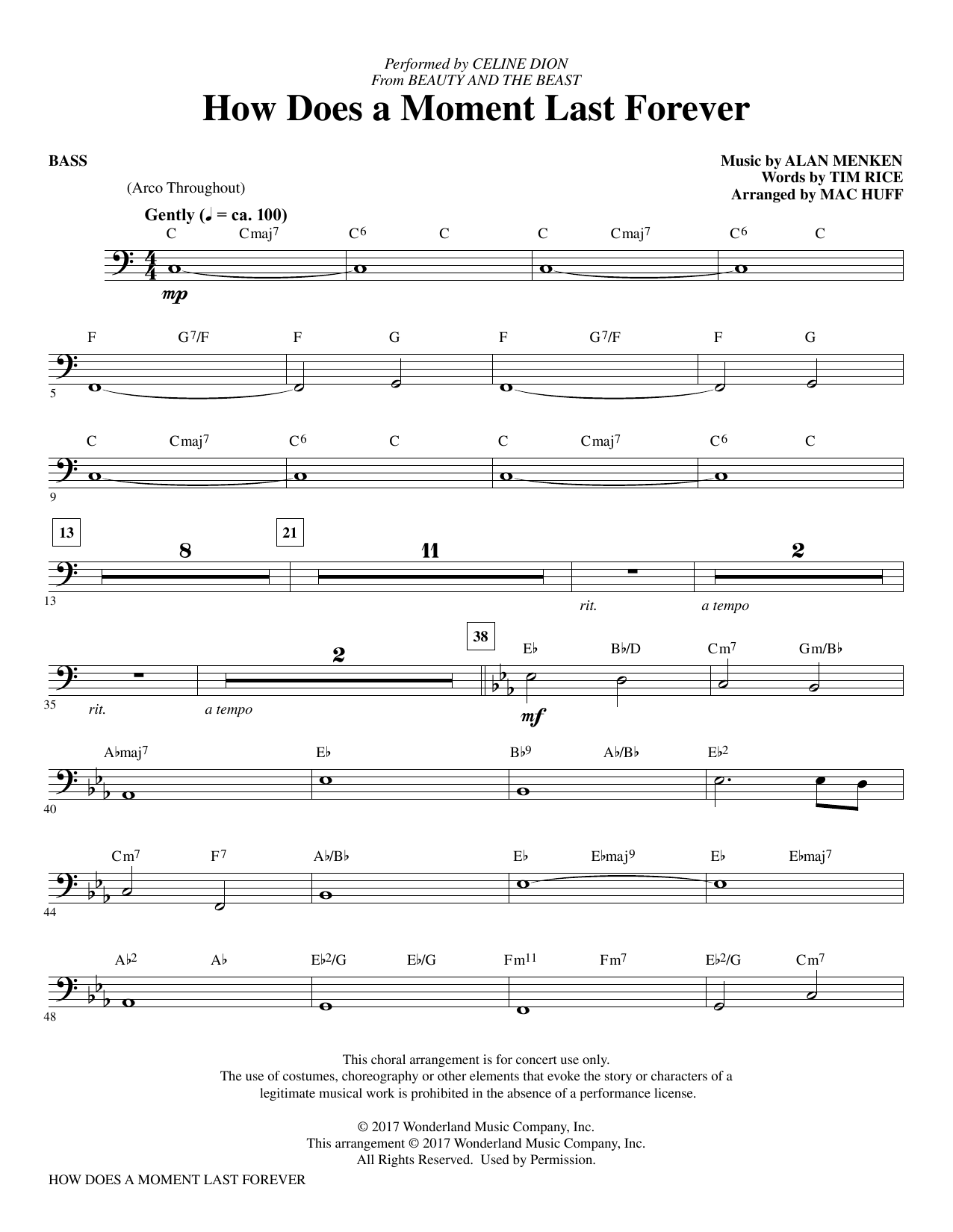 How Does a Moment Last Forever - Bass Sheet Music