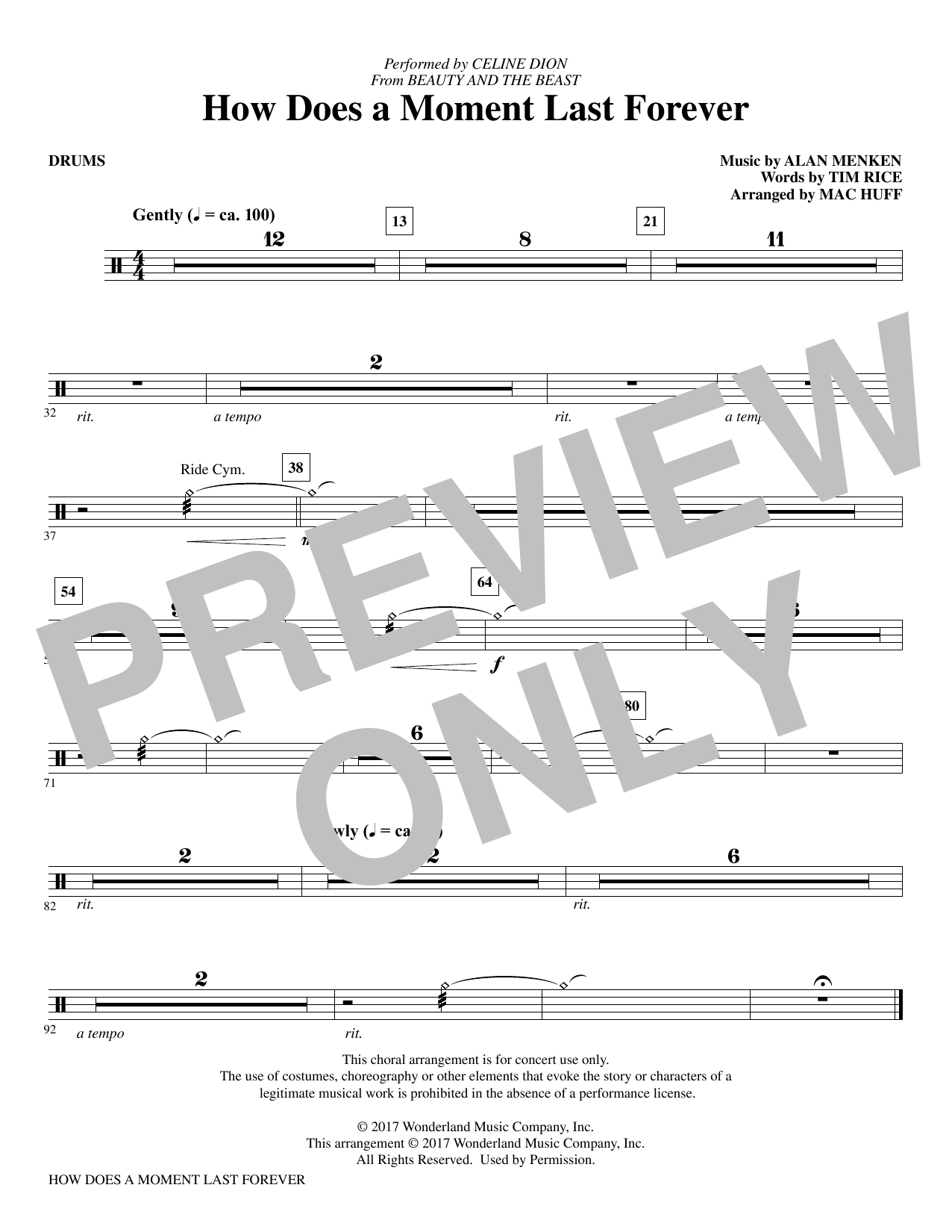 How Does a Moment Last Forever - Drums Sheet Music