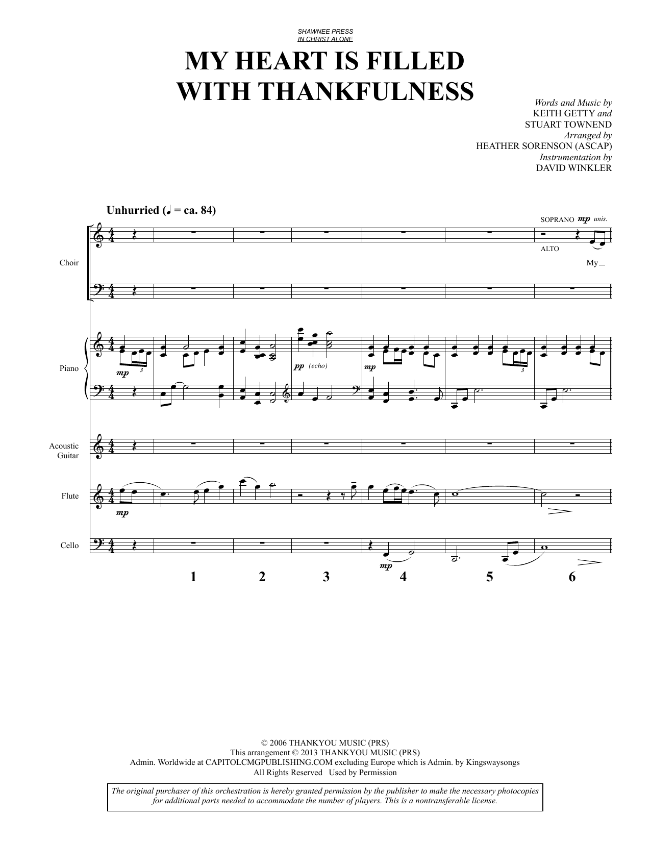 My Heart Is Filled with Thankfulness (COMPLETE) sheet music for orchestra/band by Heather Sorenson, Keith Getty and Stuart Townend. Score Image Preview.