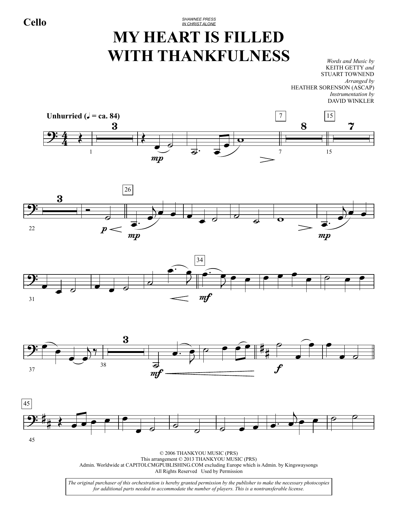 My Heart Is Filled with Thankfulness - Cello (Choir Instrumental Pak)