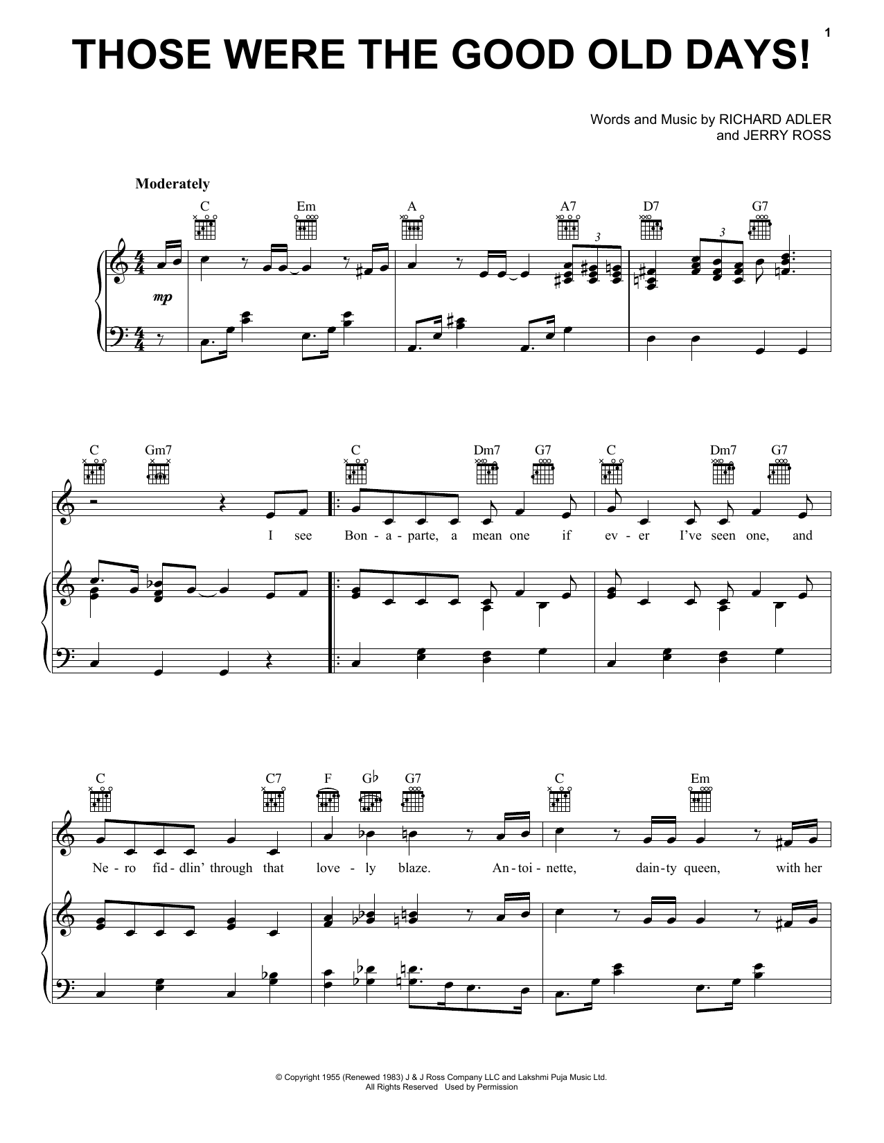 Those Were The Good Old Days! (Piano, Vocal & Guitar (Right-Hand Melody))