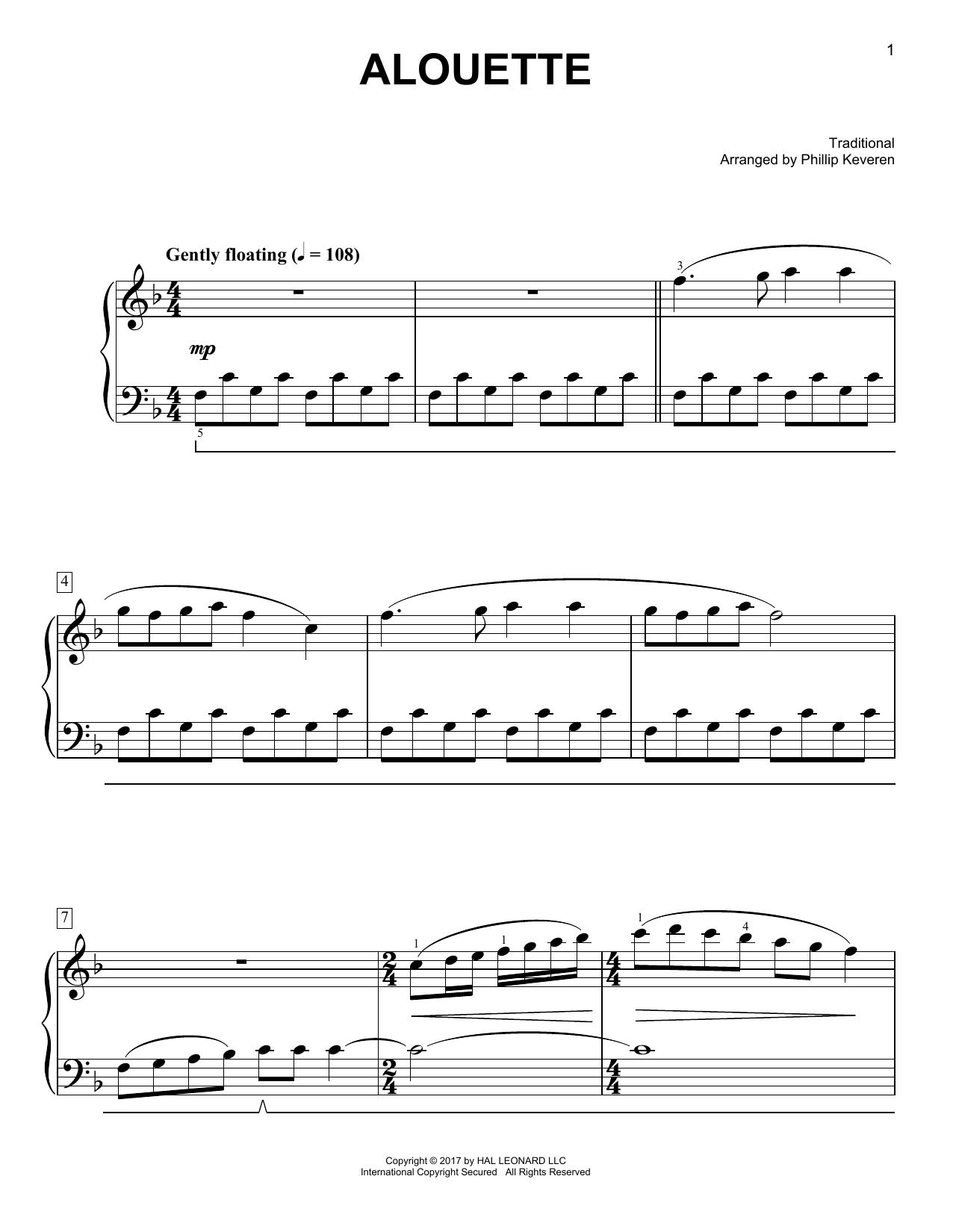 Alouette [Classical version] (arr. Phillip Keveren) (Easy Piano)