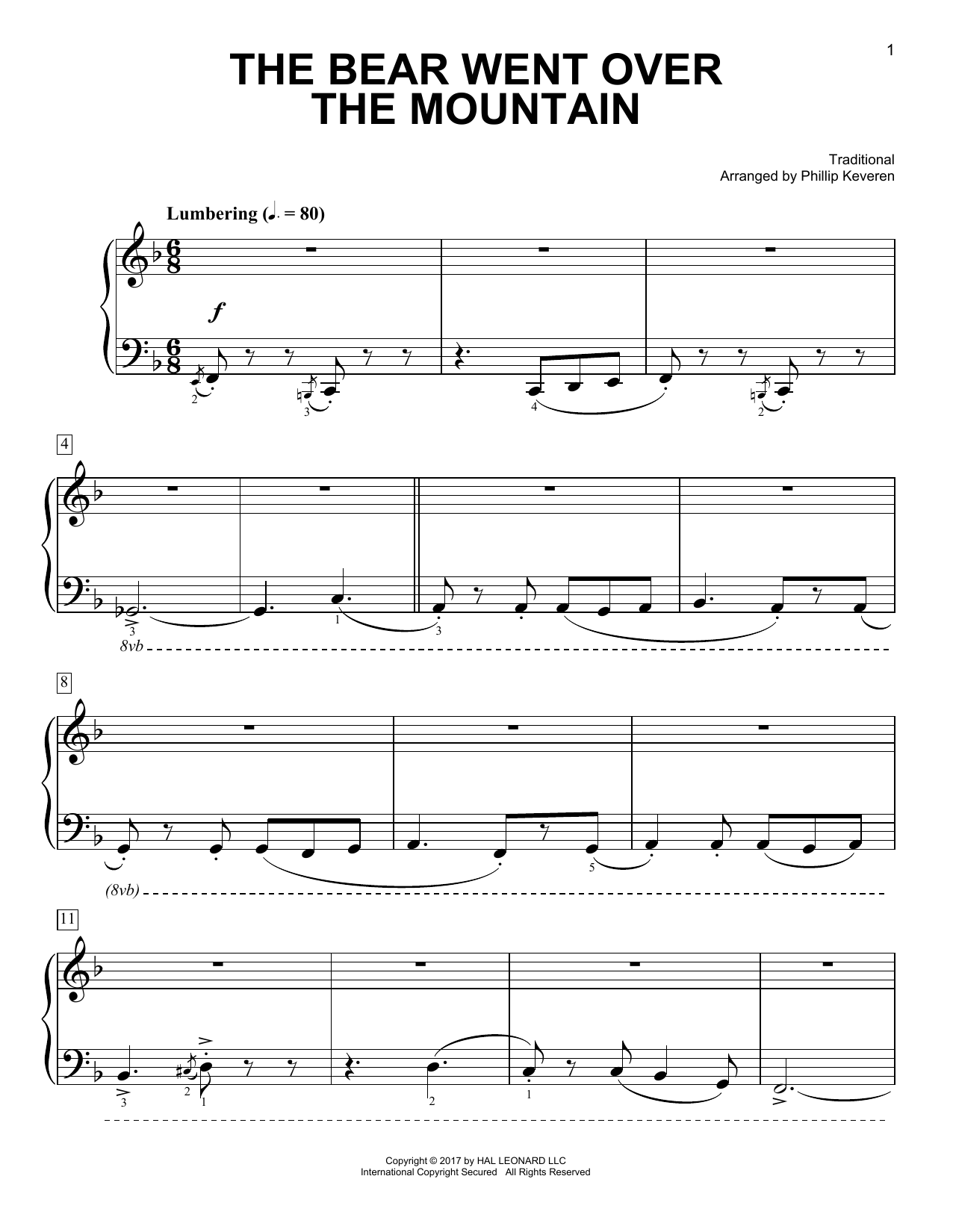 The Bear Went Over The Mountain [Classical version] (arr. Phillip Keveren) (Easy Piano)