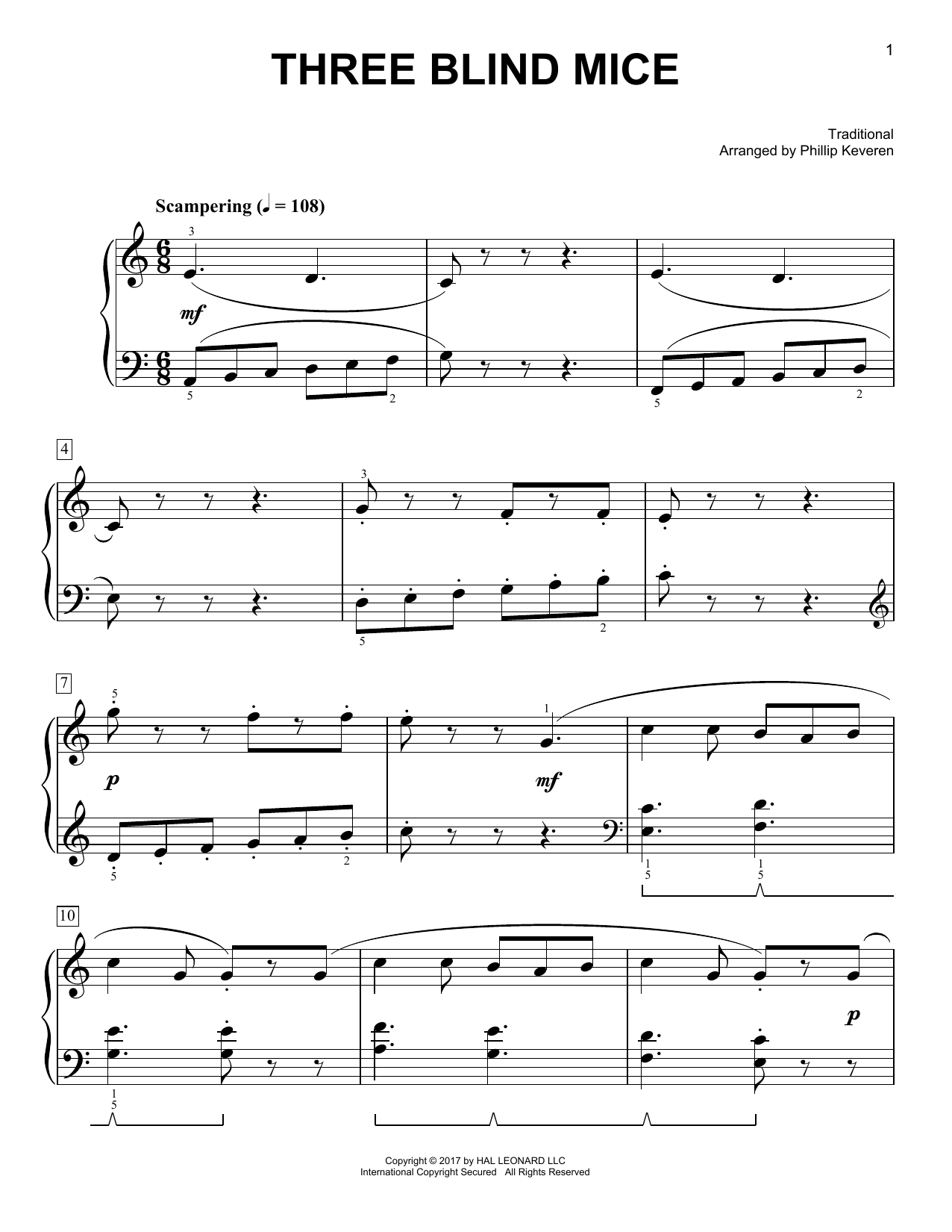 Three Blind Mice [Classical version] (arr. Phillip Keveren) (Easy Piano)