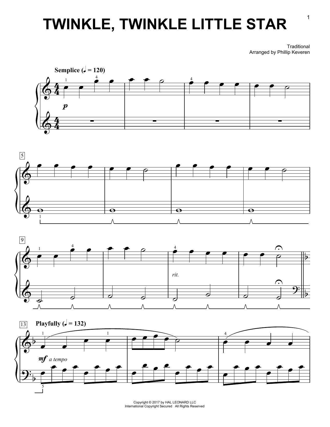 Twinkle, Twinkle Little Star [Classical version] (arr. Phillip Keveren) (Easy Piano)