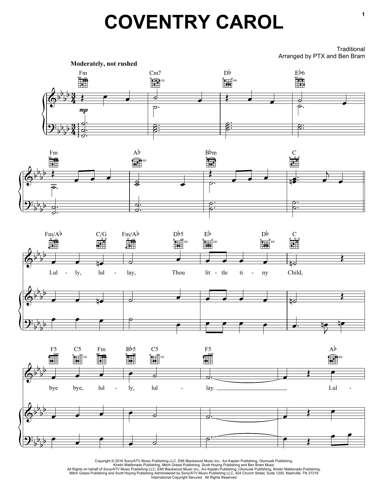 Coventry Carol (Piano, Vocal & Guitar (Right-Hand Melody))