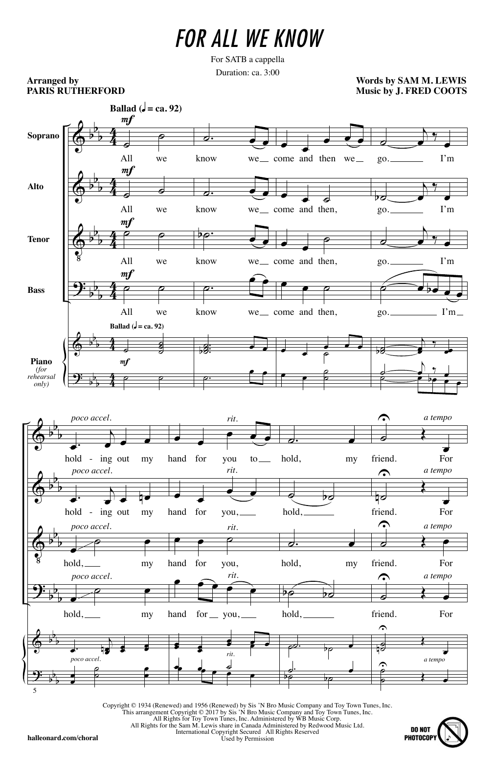 For All We Know (SATB Choir)