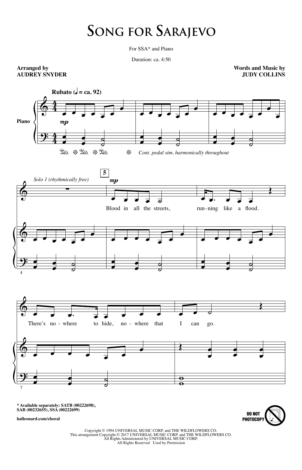 Song For Sarajevo Sheet Music