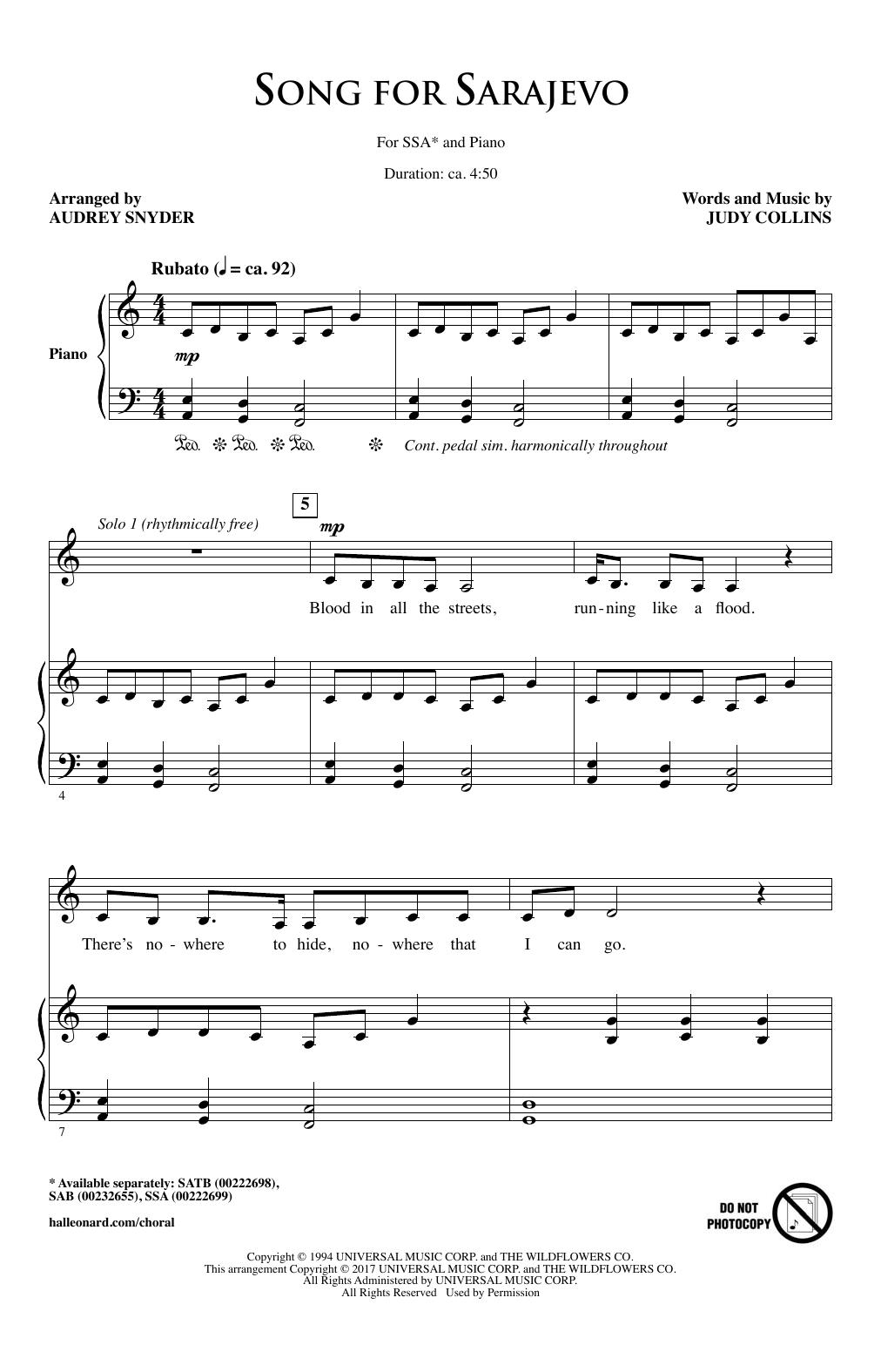 Song For Sarajevo (SSA Choir)