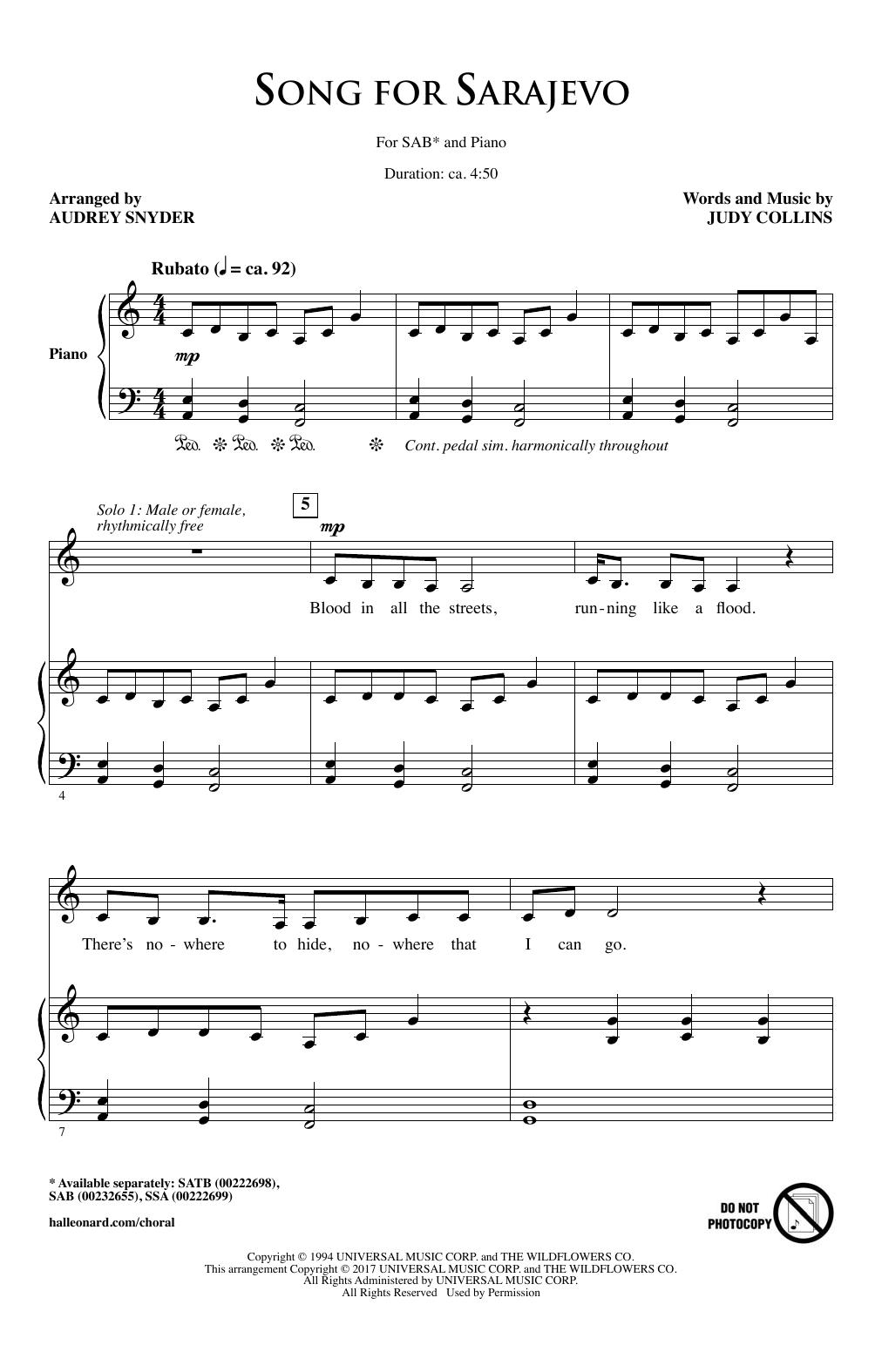Song For Sarajevo (SAB Choir)