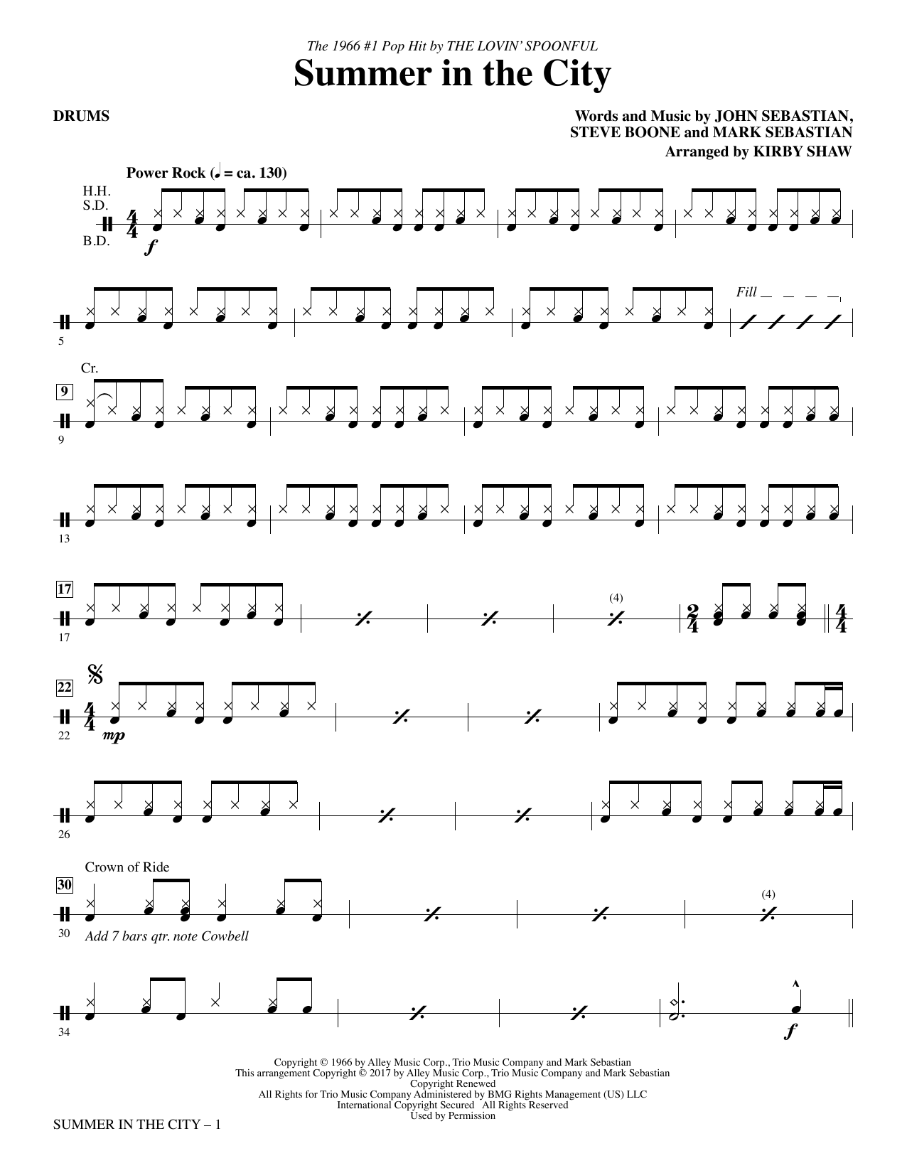 Summer in the City - Drums Sheet Music