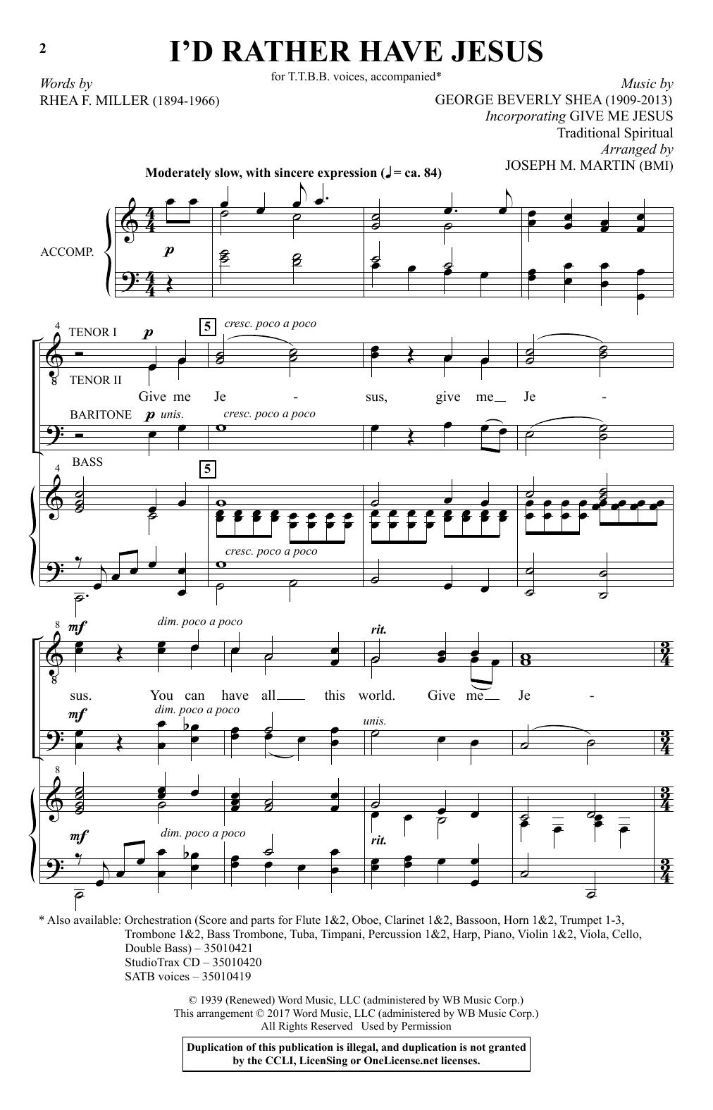 I'd Rather Have Jesus (TTBB Choir)