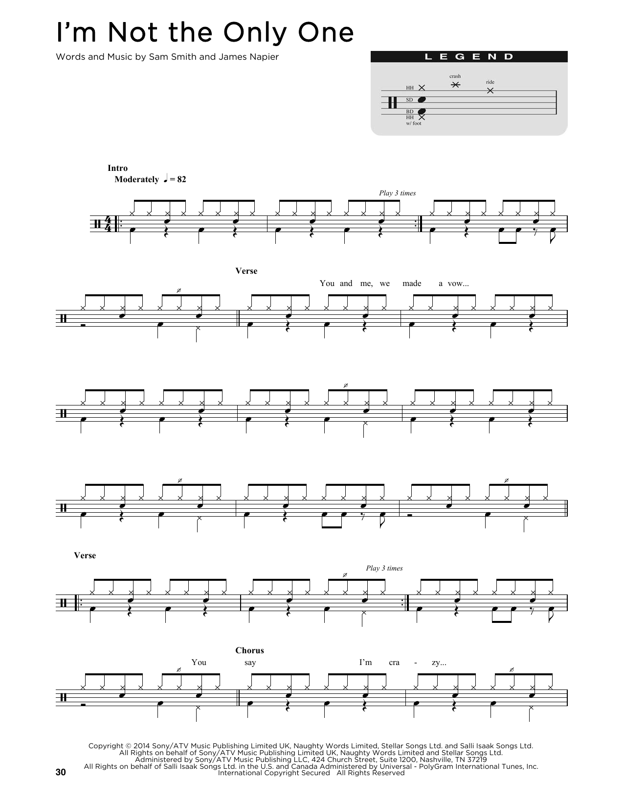 I'm Not The Only One Sheet Music | Sam Smith | Drums - photo#24