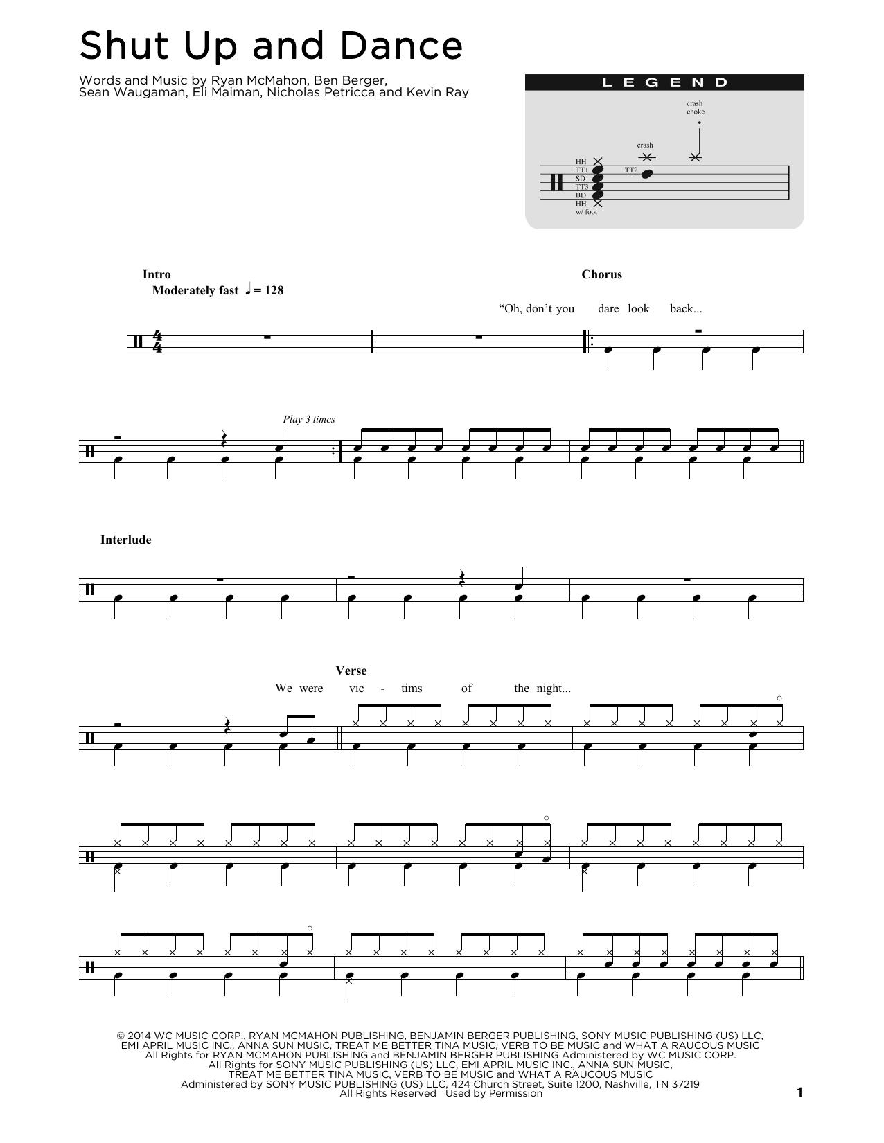 Shut Up And Dance (Drum Chart)