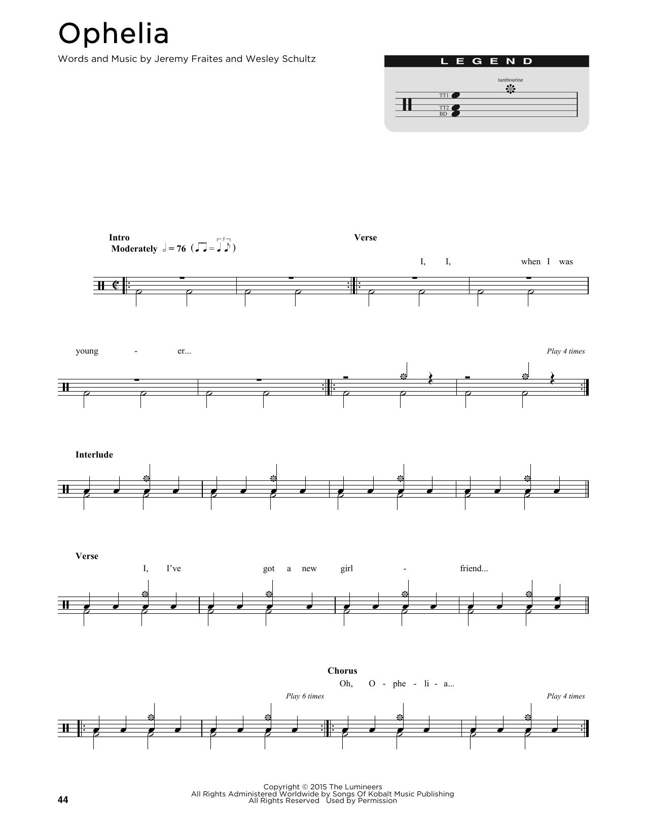 Ophelia Noten   The Lumineers   Trommelkarte