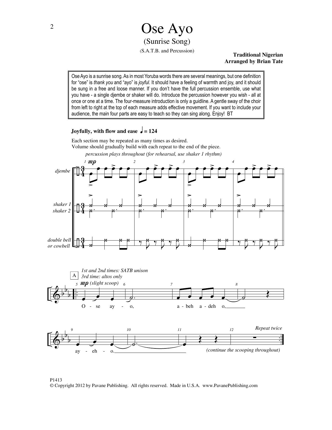 Ose Ayo (Sunrise Song) Sheet Music