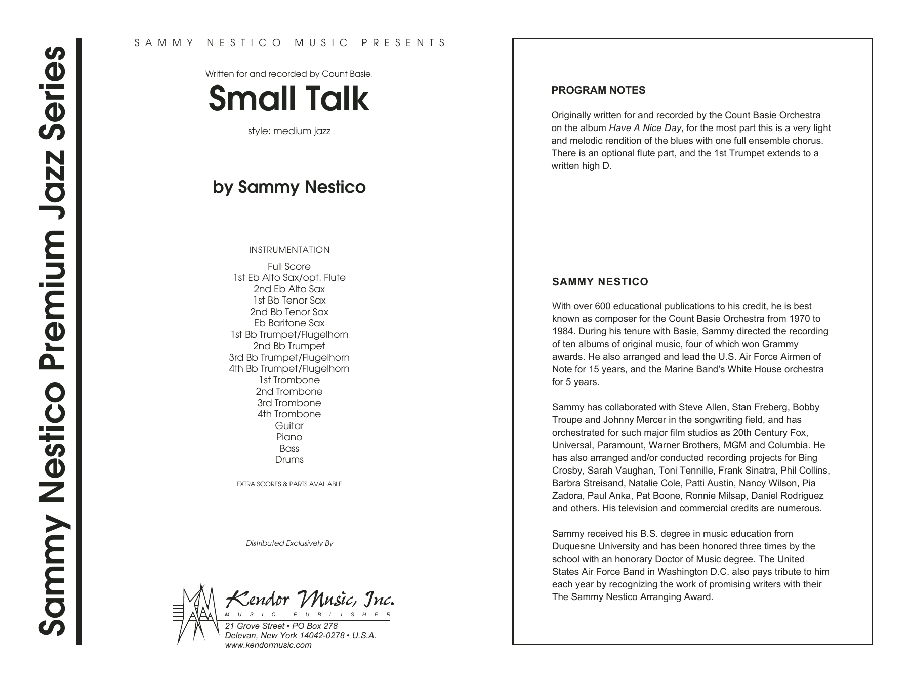 Small Talk (COMPLETE) sheet music for jazz band by Sammy Nestico. Score Image Preview.