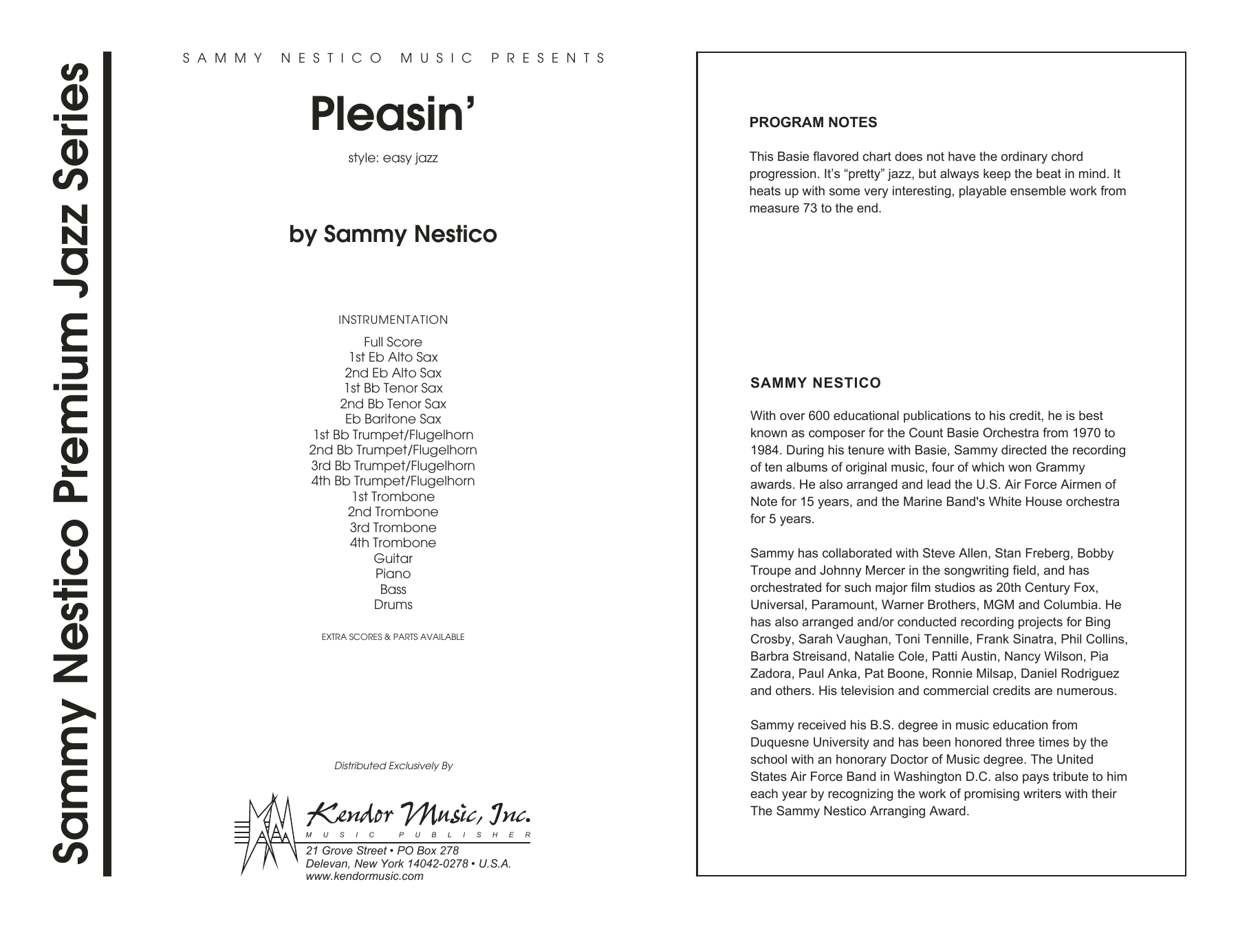 Pleasin' (COMPLETE) sheet music for jazz band by Sammy Nestico. Score Image Preview.