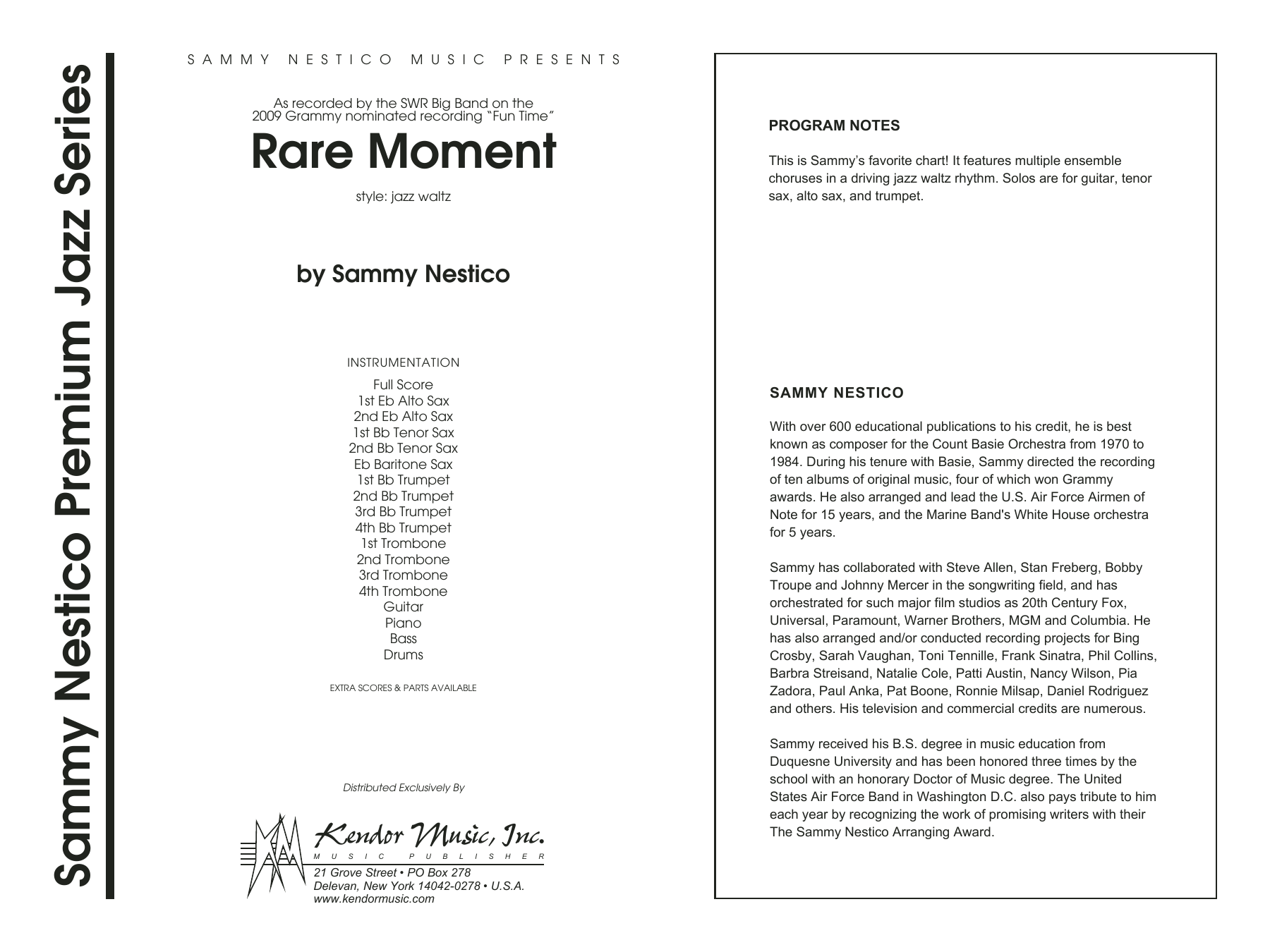 Rare Moment (COMPLETE) sheet music for jazz band by Sammy Nestico. Score Image Preview.