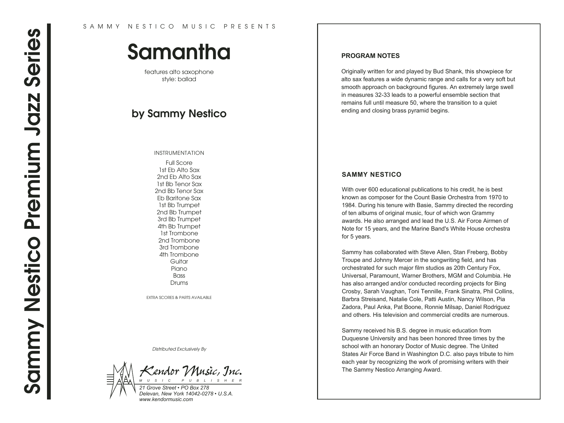 Samantha (COMPLETE) sheet music for jazz band by Sammy Nestico. Score Image Preview.