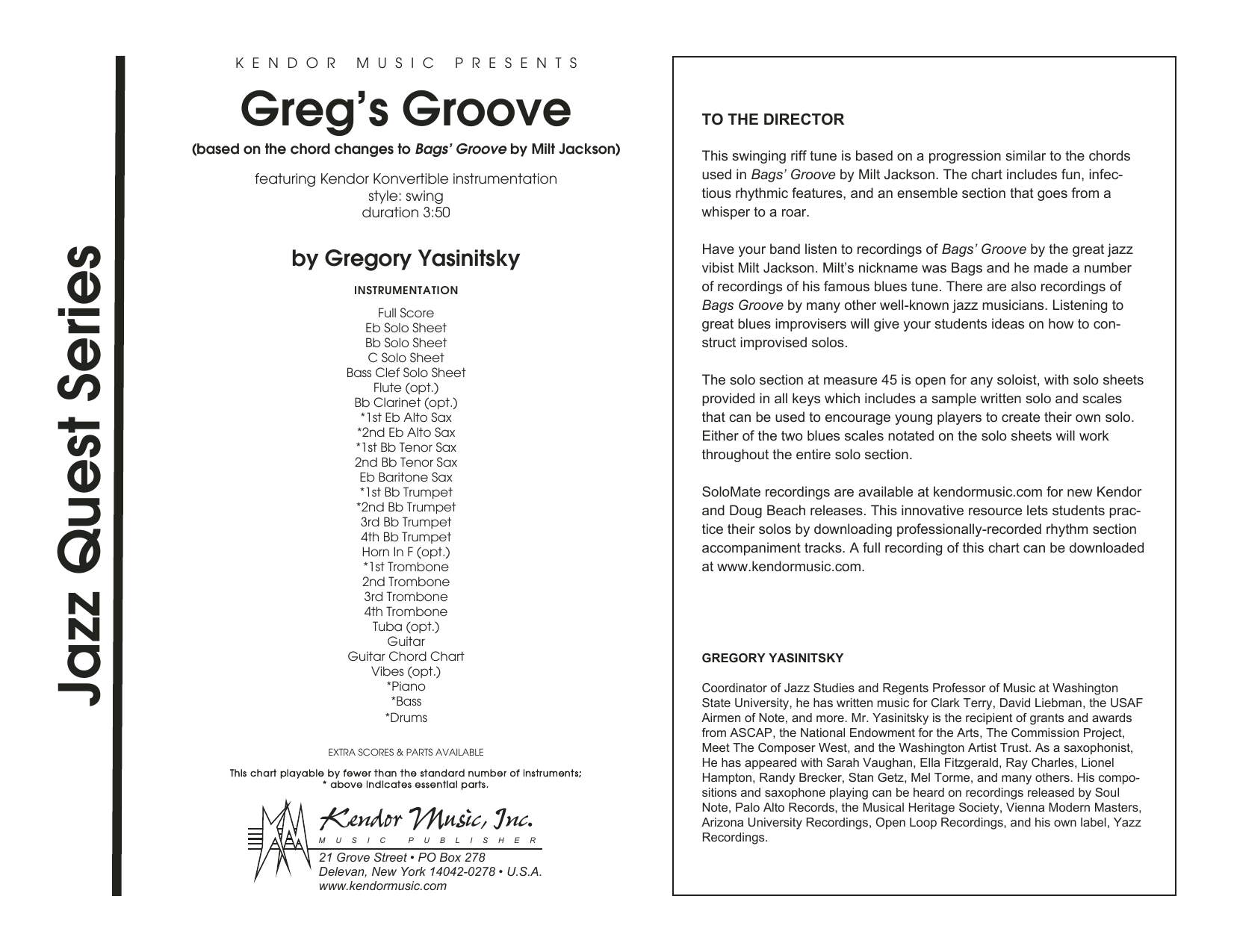 Greg's Groove (COMPLETE) sheet music for jazz band by Gregory Yasinitsky. Score Image Preview.